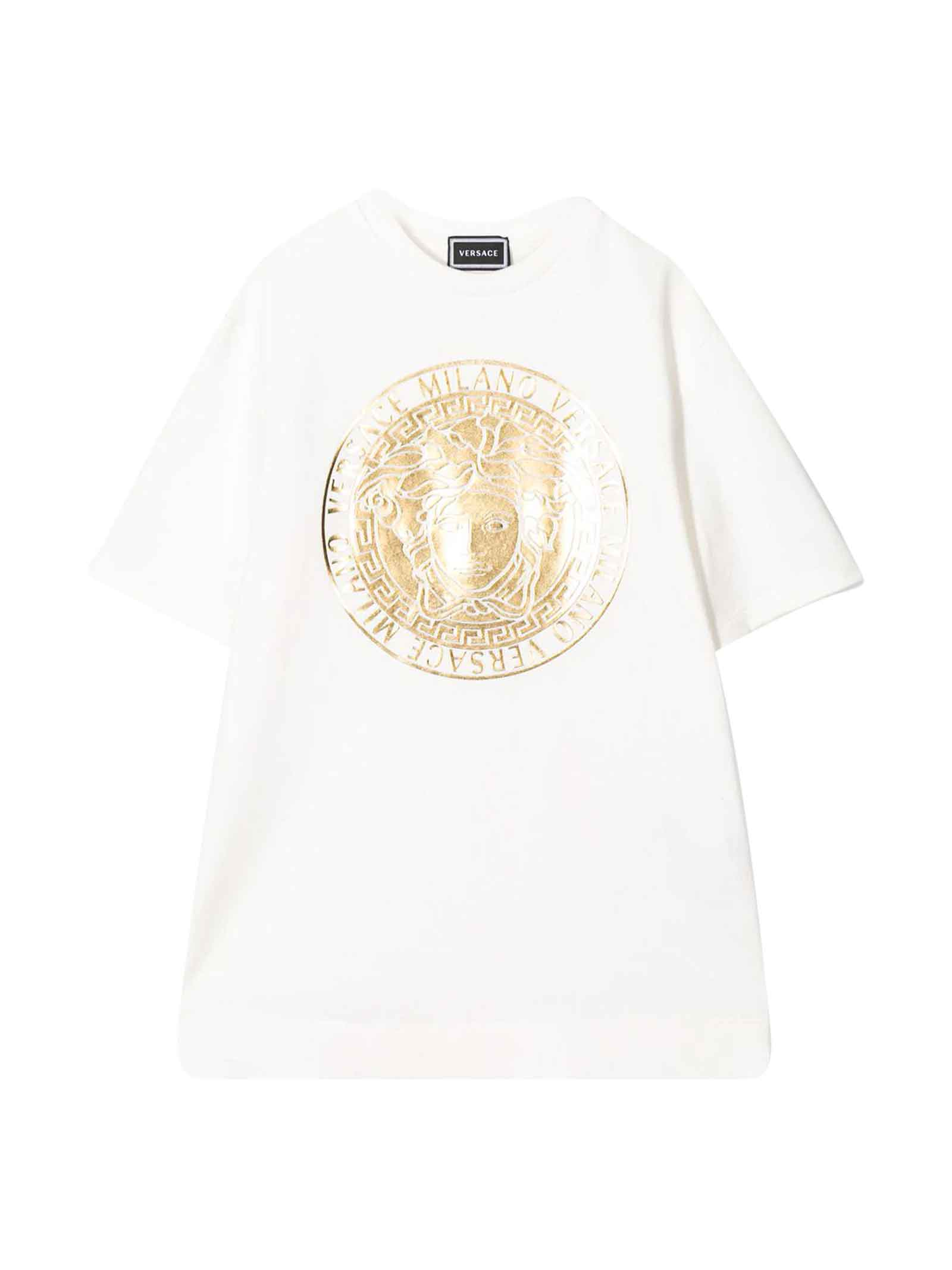 Buy Young Versace White Dress With Frontal Press online, shop Young Versace with free shipping