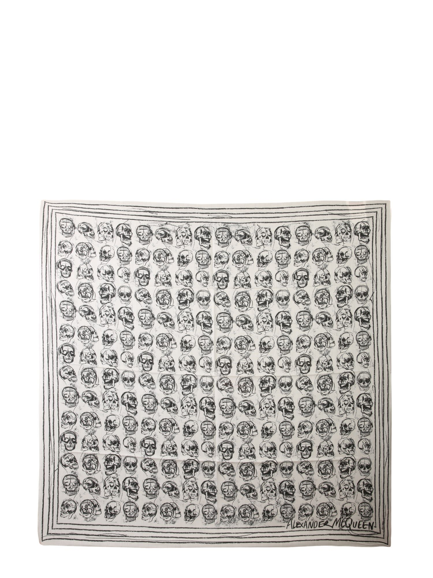 Alexander Mcqueen SCARF WITH PAINTED SKULL PRINT