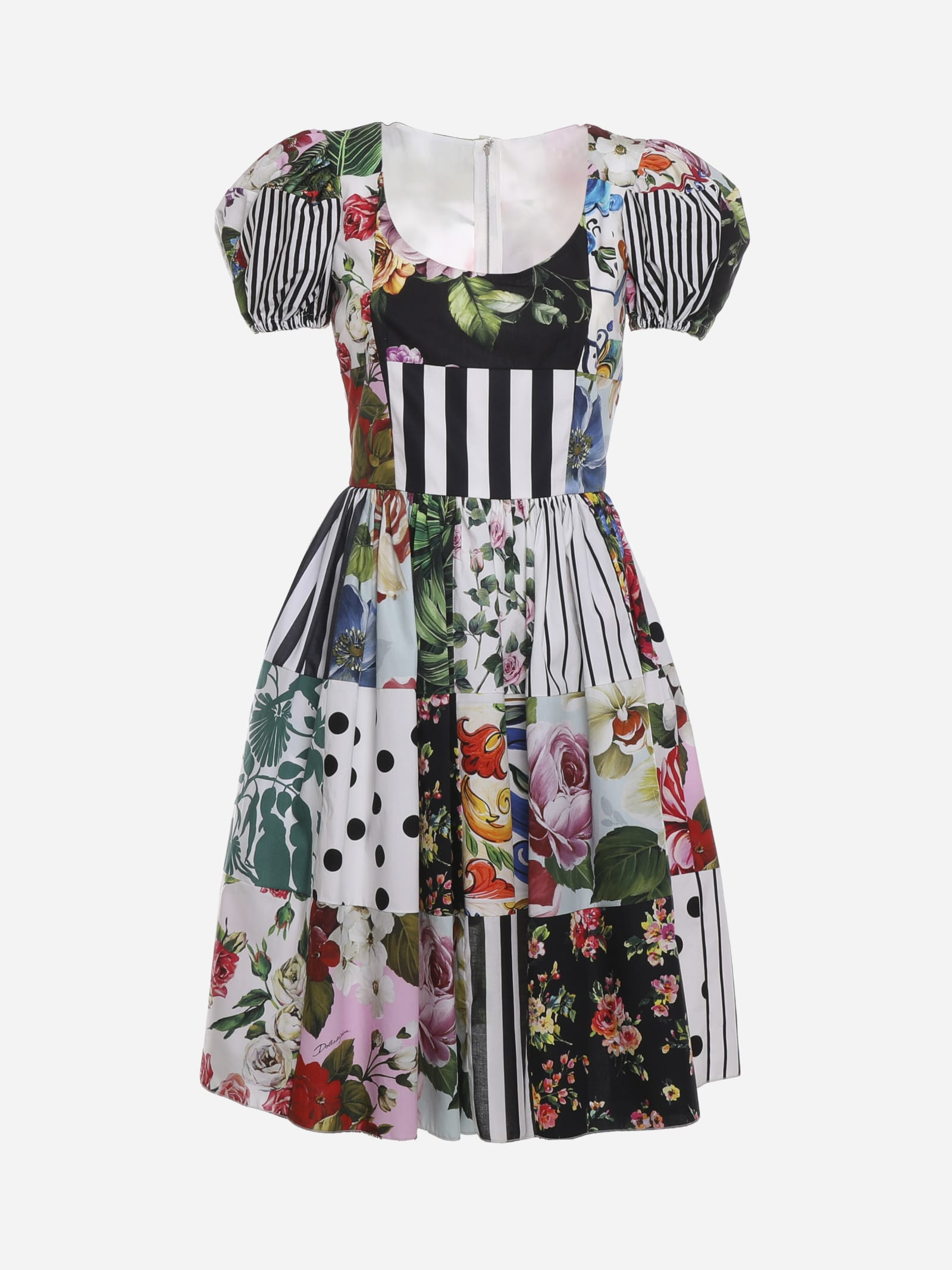 Buy Dolce & Gabbana Cotton Midi Dress With Patchwork Print online, shop Dolce & Gabbana with free shipping