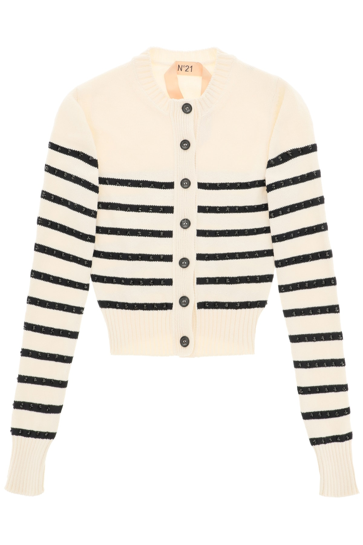 N°21 STRIPED CARDIGAN WITH CRYSTALS