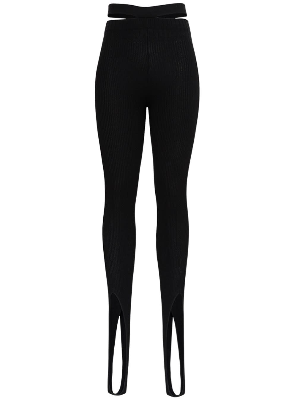 Ribbed Knit Leggings With Cut Out Details