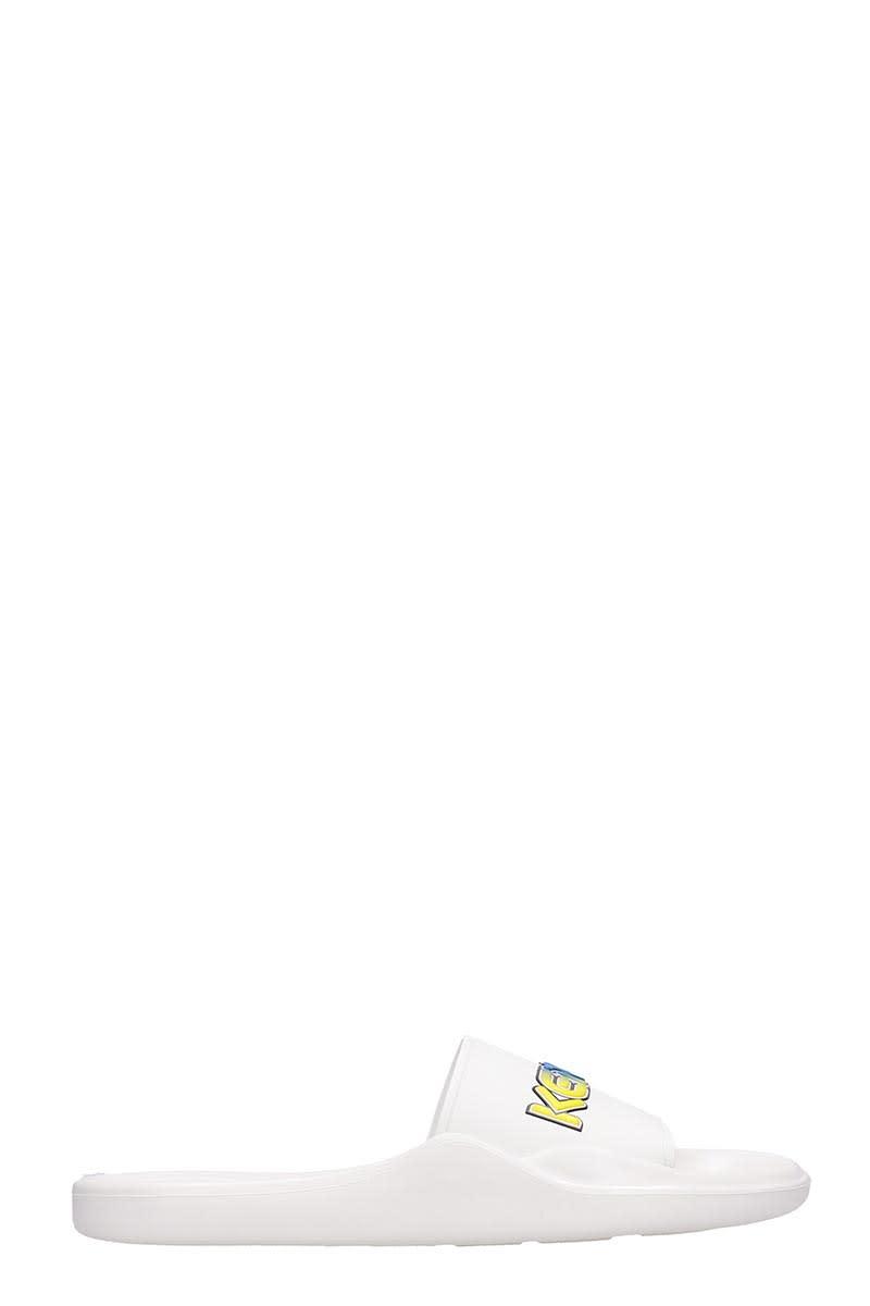Kenzo Flats In White Rubber/plasic
