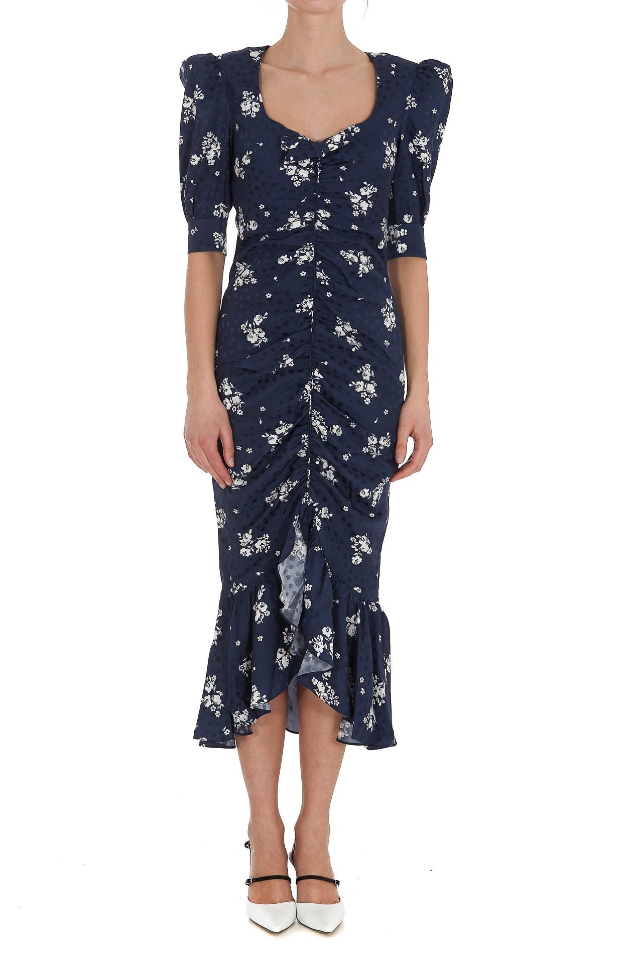 Alessandra Rich Silks FLOWER SILK RUCHED DRESS