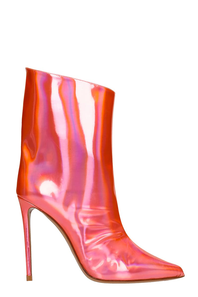 Alexandre Vauthier Leathers HIGH HEELS ANKLE BOOTS IN RED LEATHER