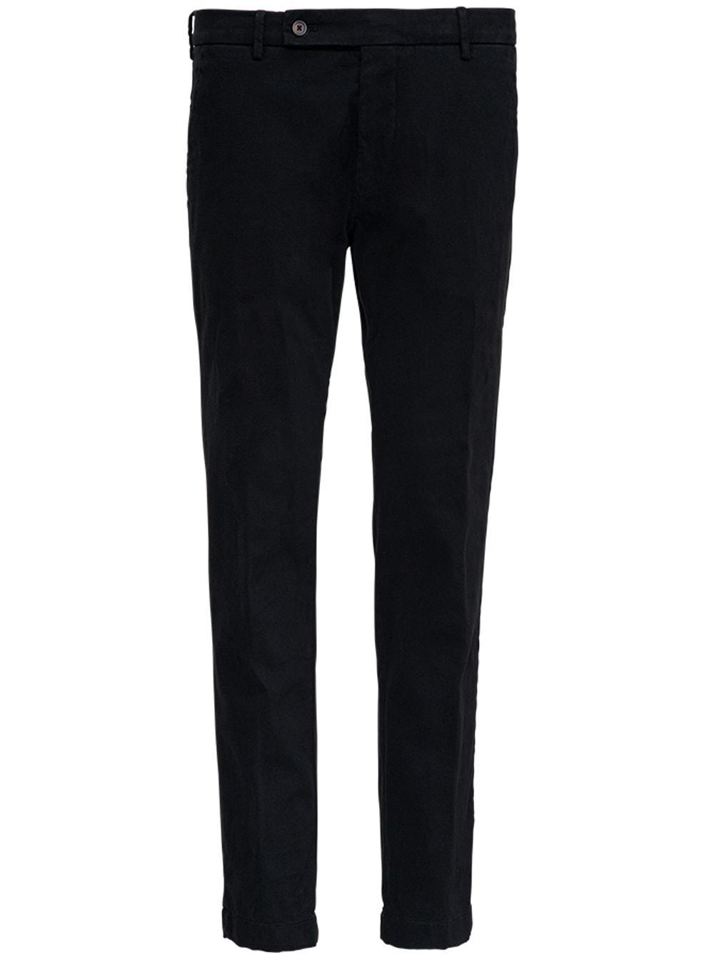 Black Cotton Tailored Pants