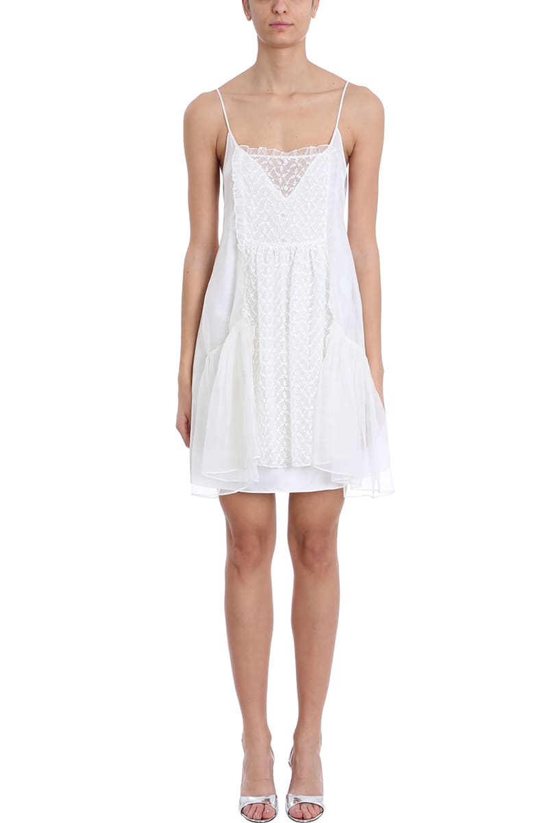 Stella McCartney White Silk And Chiffon Dress