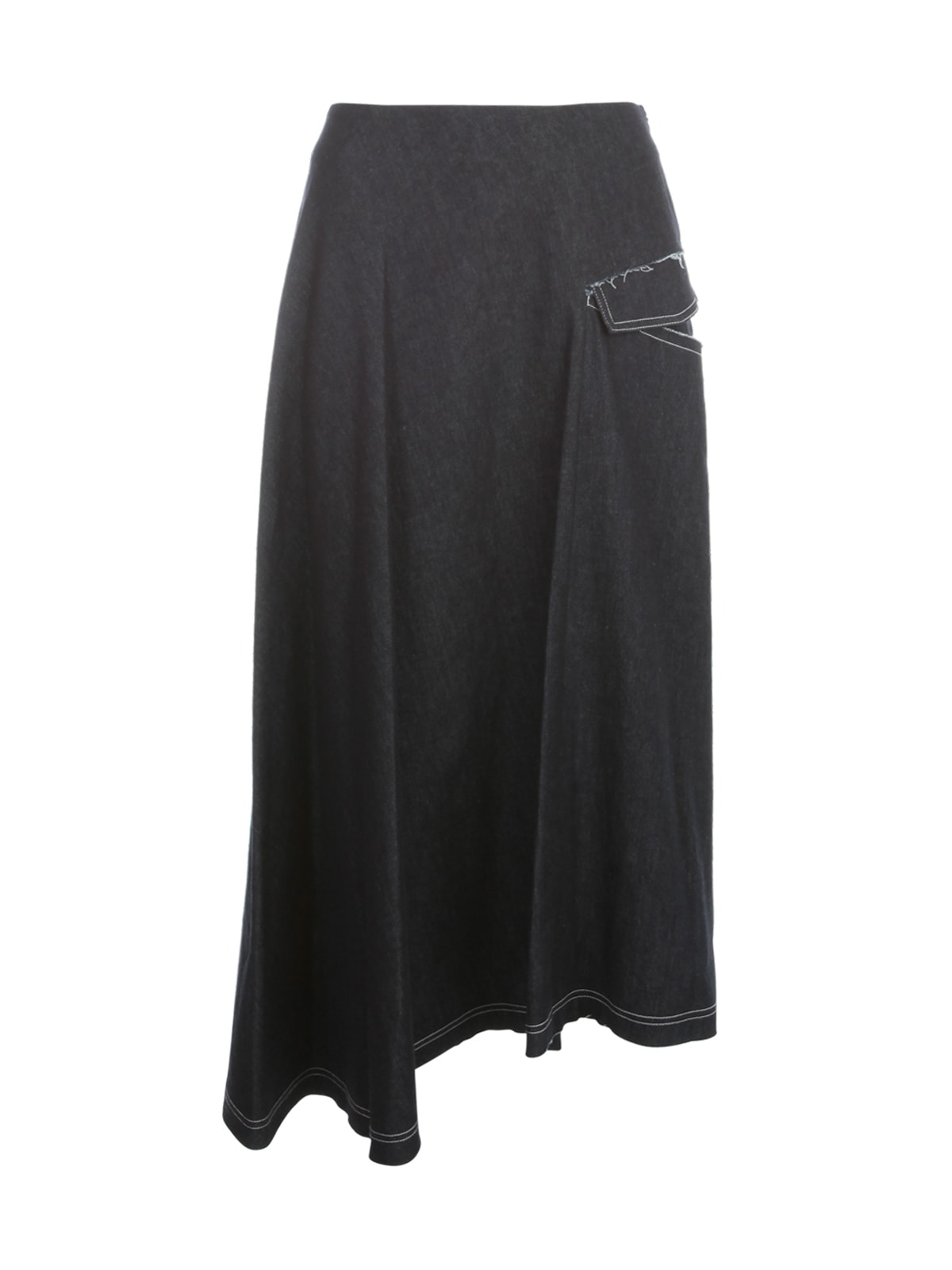 Y's DENIM ASYMMETRY FLARED SKIRT