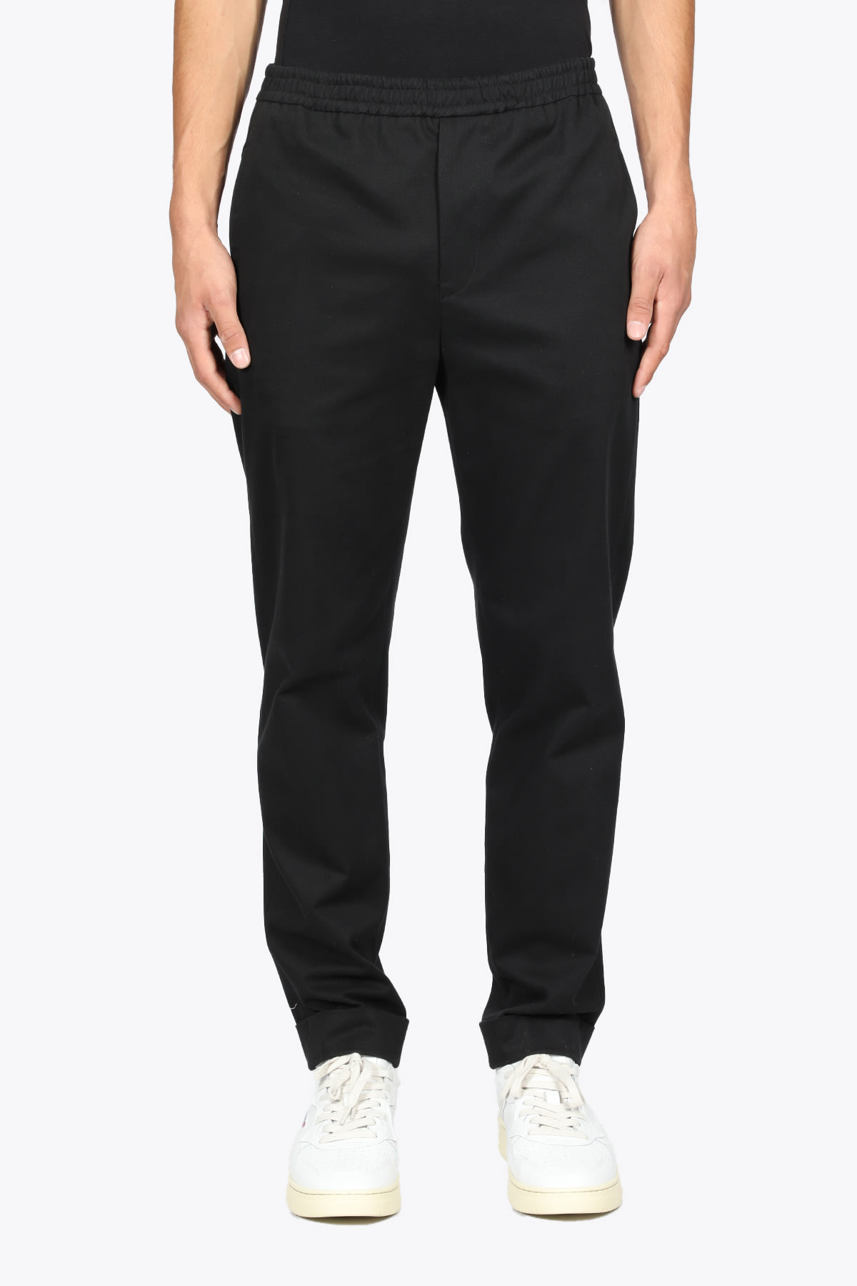 Black Cotton Pant With Elastic Waistband