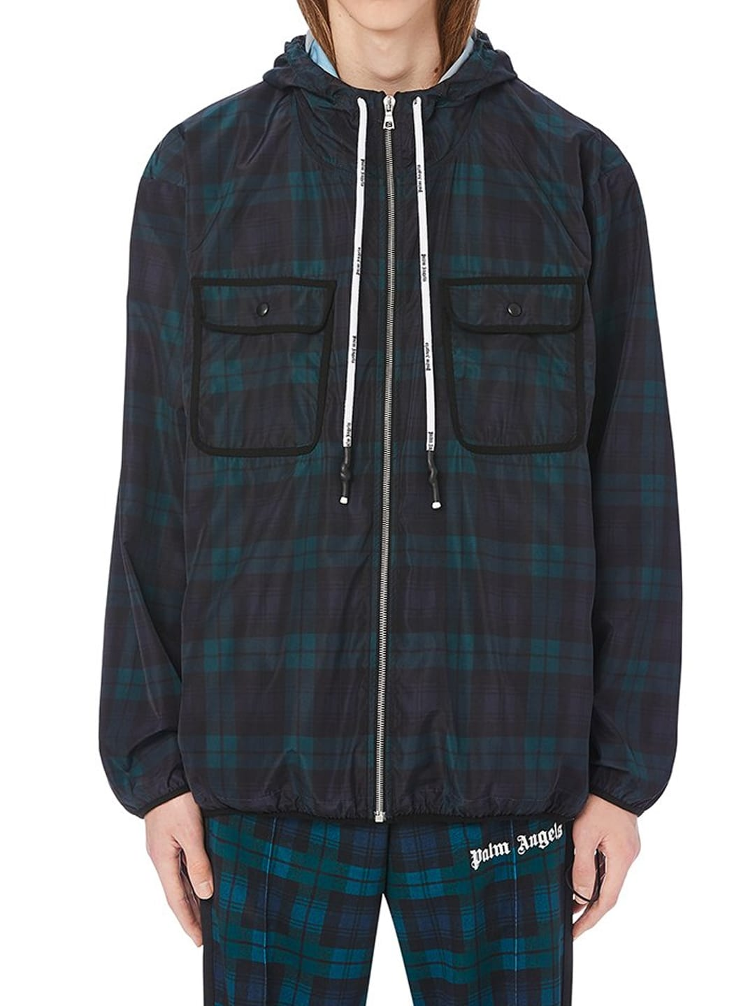 PALM ANGELS CHECKED WINDBREAKER