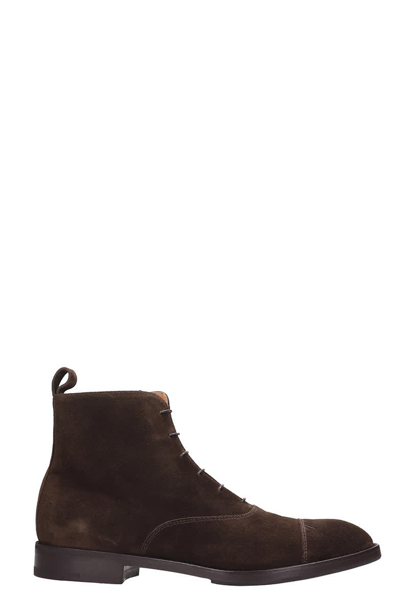 Premiata Combat Boots In Brown Suede