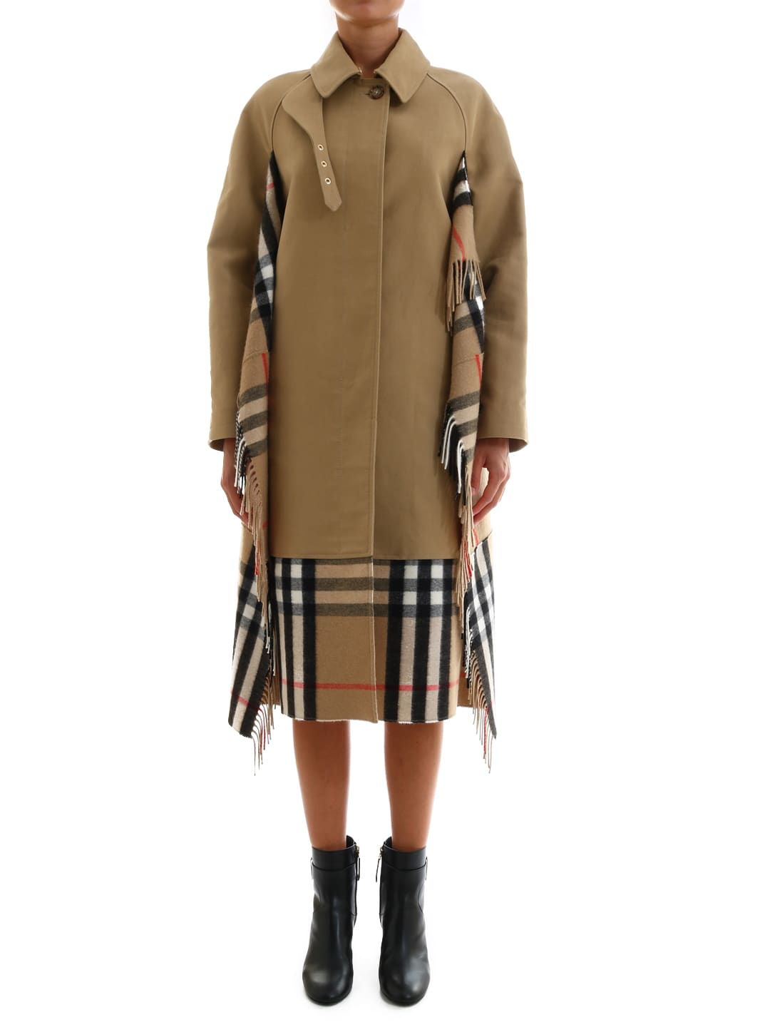 Burberry Car Coat In Gabardine With Scarf