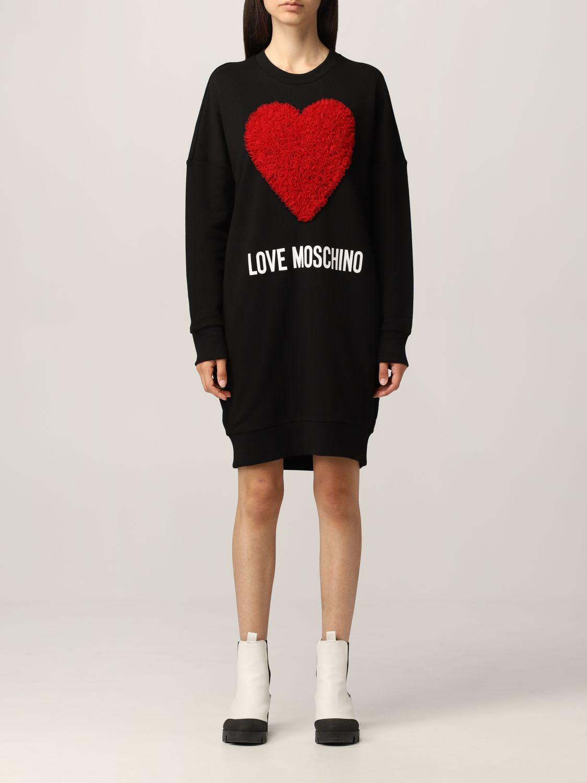 Love Moschino Dress Love Moschino Sweatshirt Dress With Ruches Heart