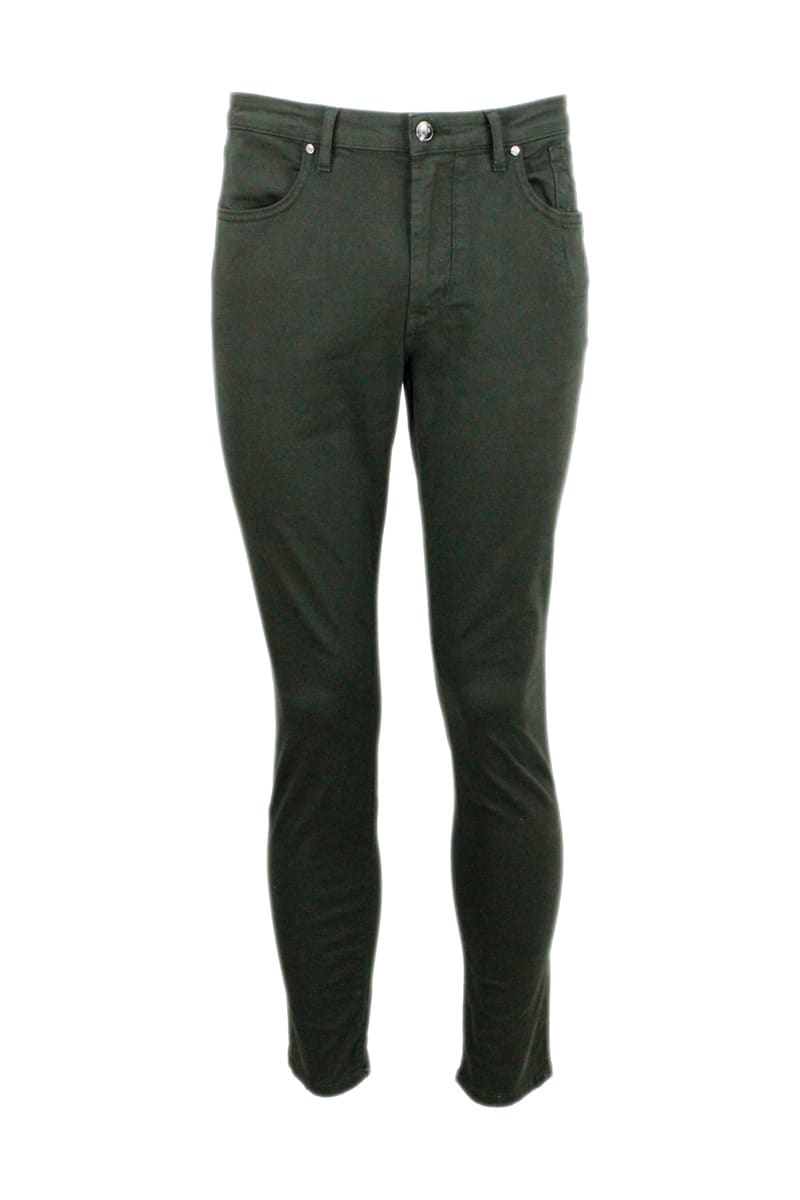 5-pocket Trousers In Stretch Textured Cotton Gabardine With Zip With Slim Fit