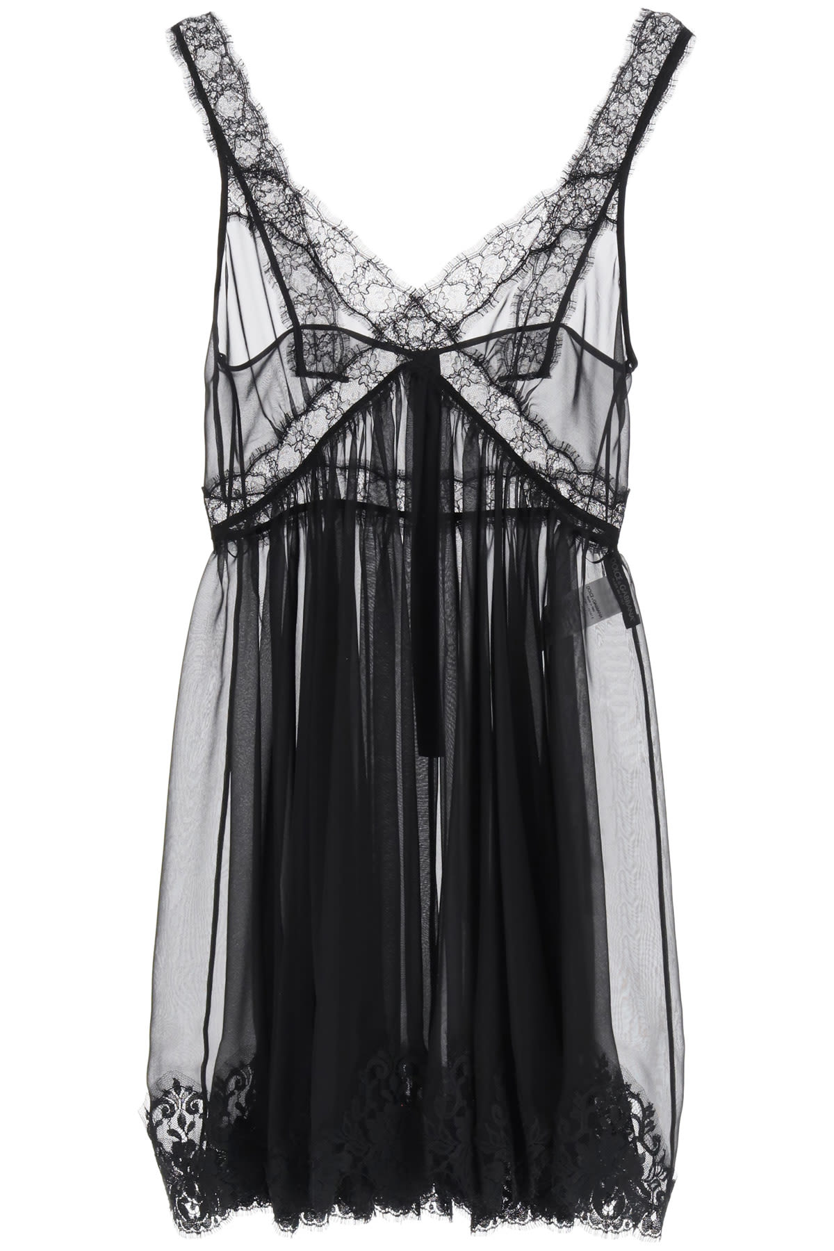Buy Dolce & Gabbana Chiffon Lingerie Mini Dress online, shop Dolce & Gabbana with free shipping
