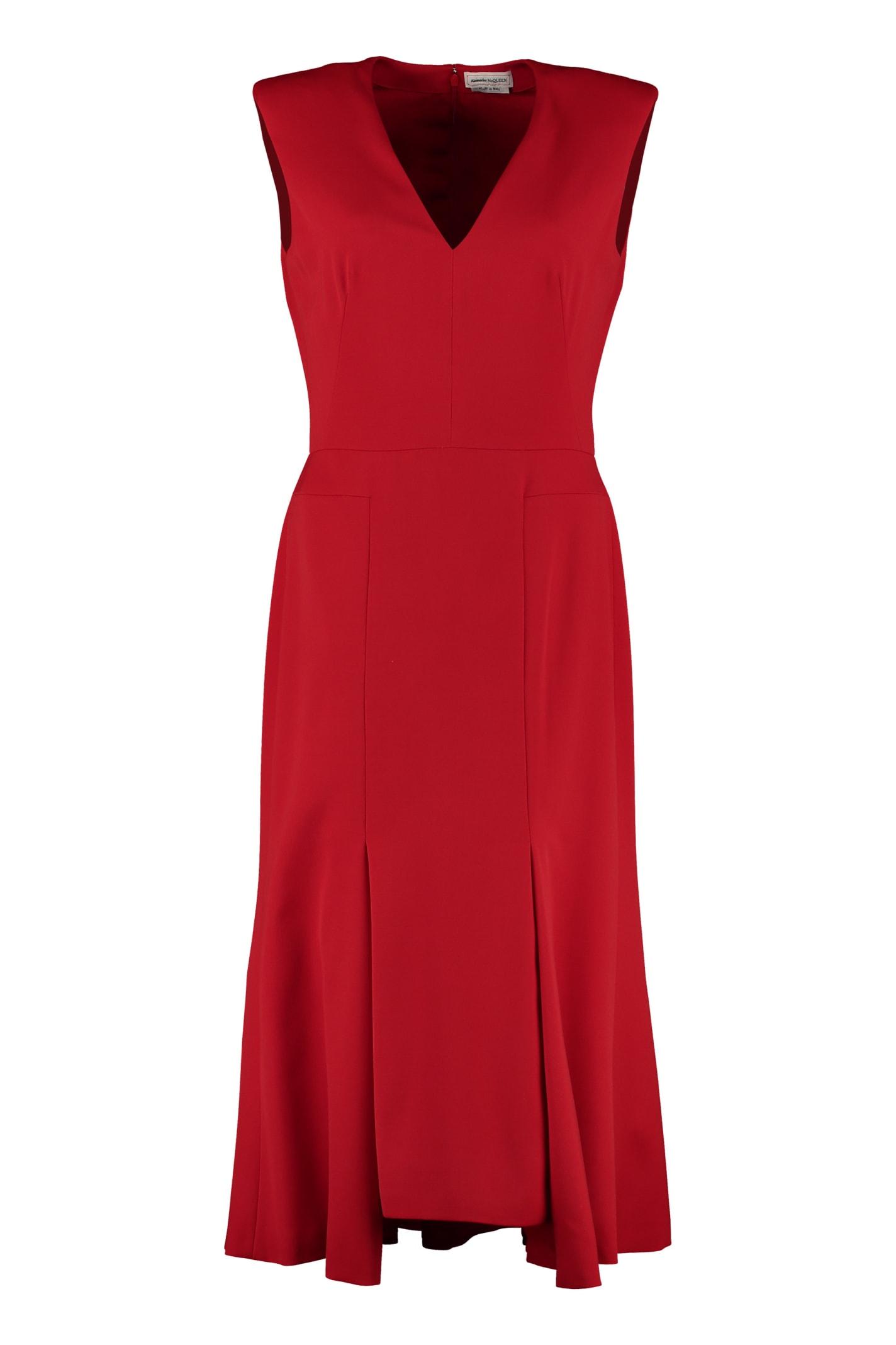 Alexander McQueen Virgin Wool Midi Dress