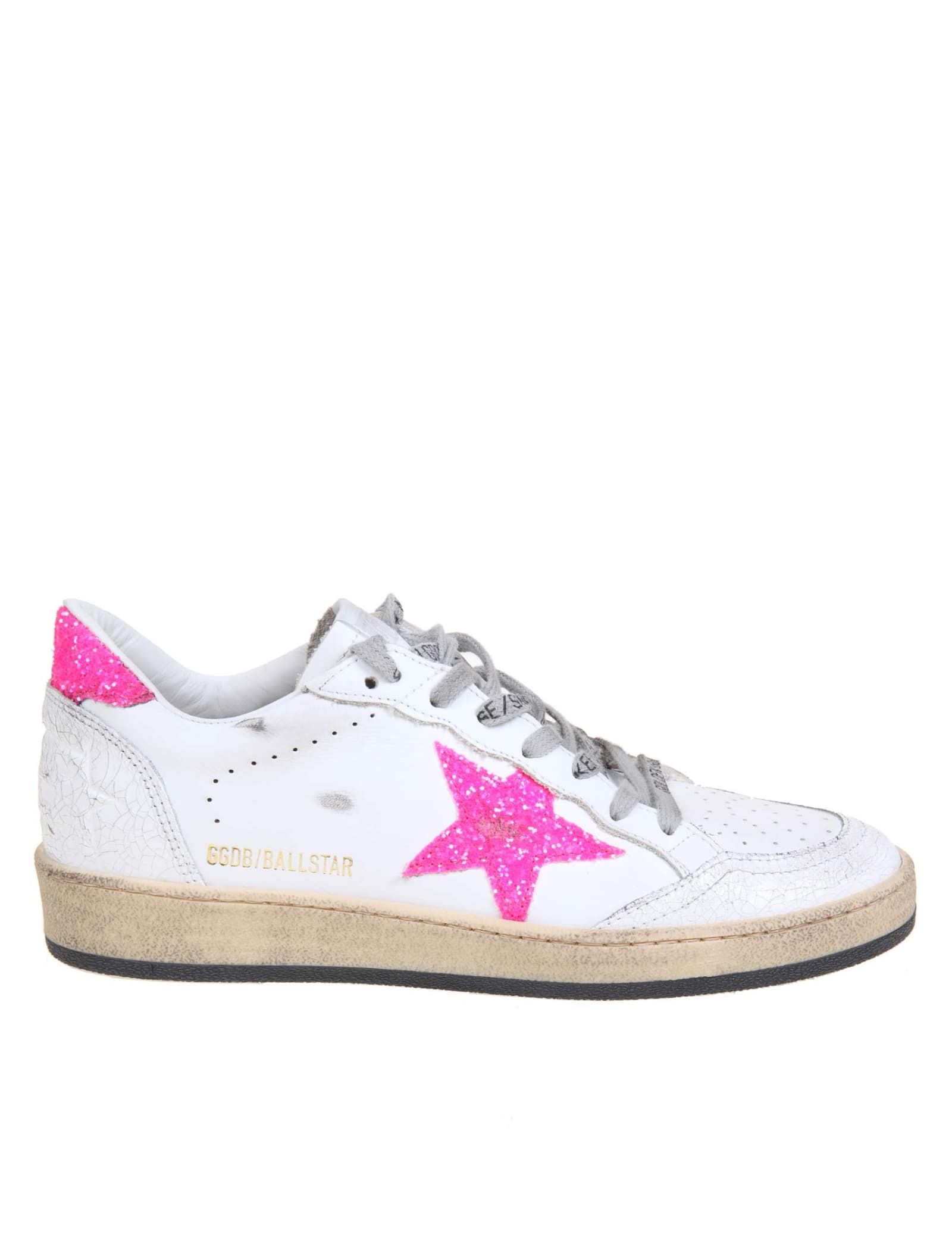 Buy Golden Goose Ballstar Sneakers In White Leather online, shop Golden Goose shoes with free shipping