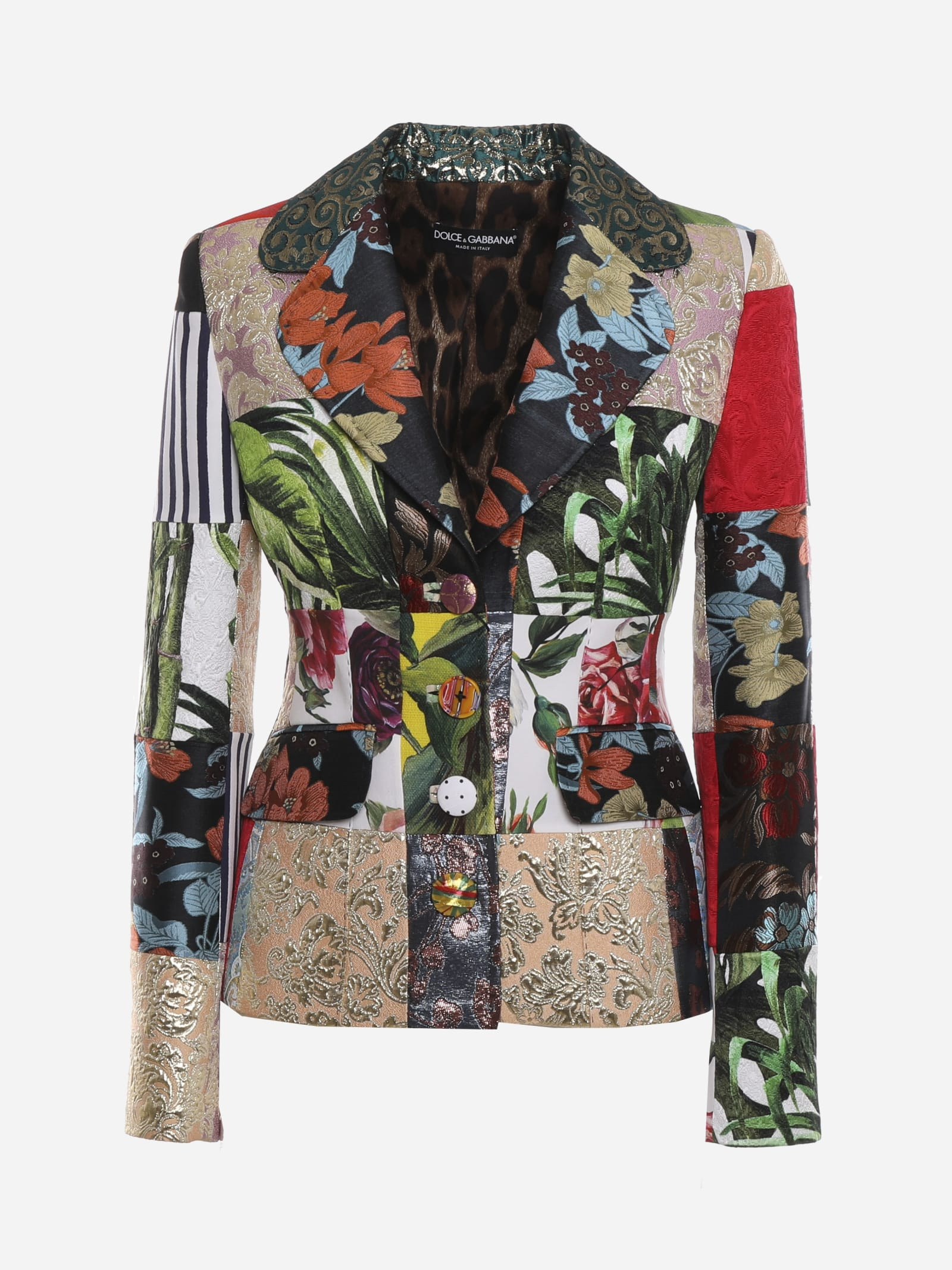 Dolce & Gabbana Coats DOLCE SINGLE-BREASTED JACKET WITH PATCHWORK PRINT