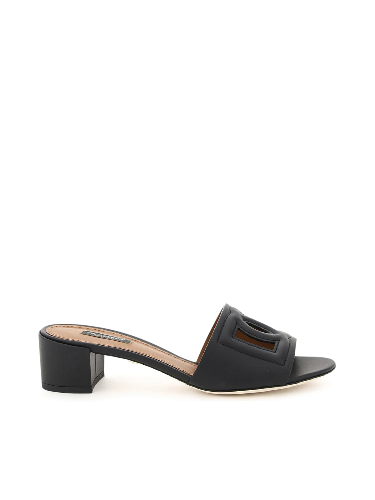 Dolce & Gabbana Leathers LOGO EMBOSSED MULE SANDALS