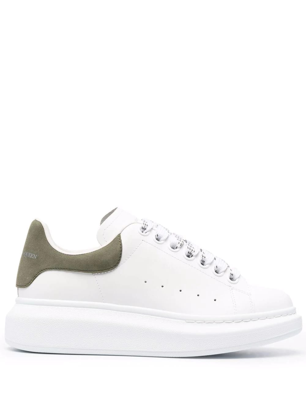 Alexander McQueen Woman White And Khaki Oversize Sneakers
