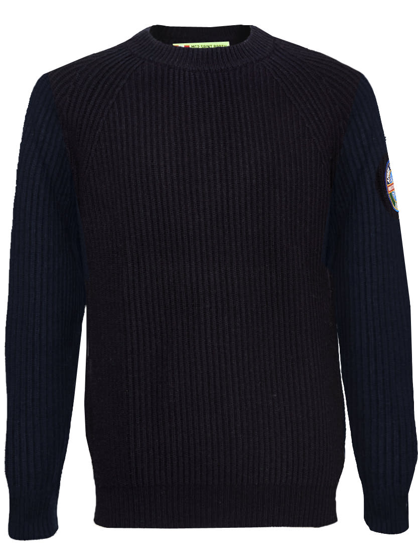 Blended Cashmere Blue Sweater With Patch