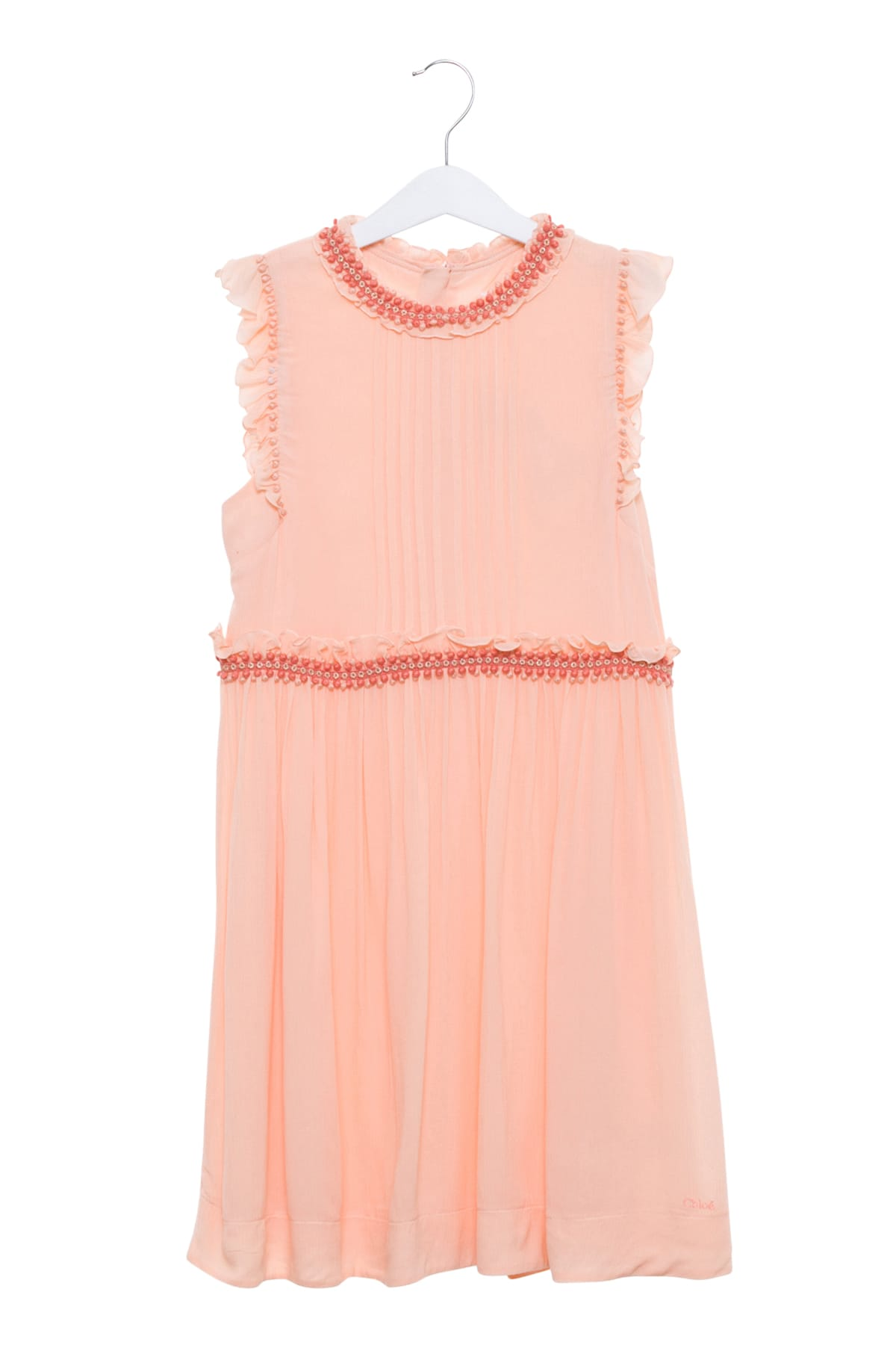Photo of  Chloé Draped Dress With Ruffles And Applications- shop Chloé  online sales