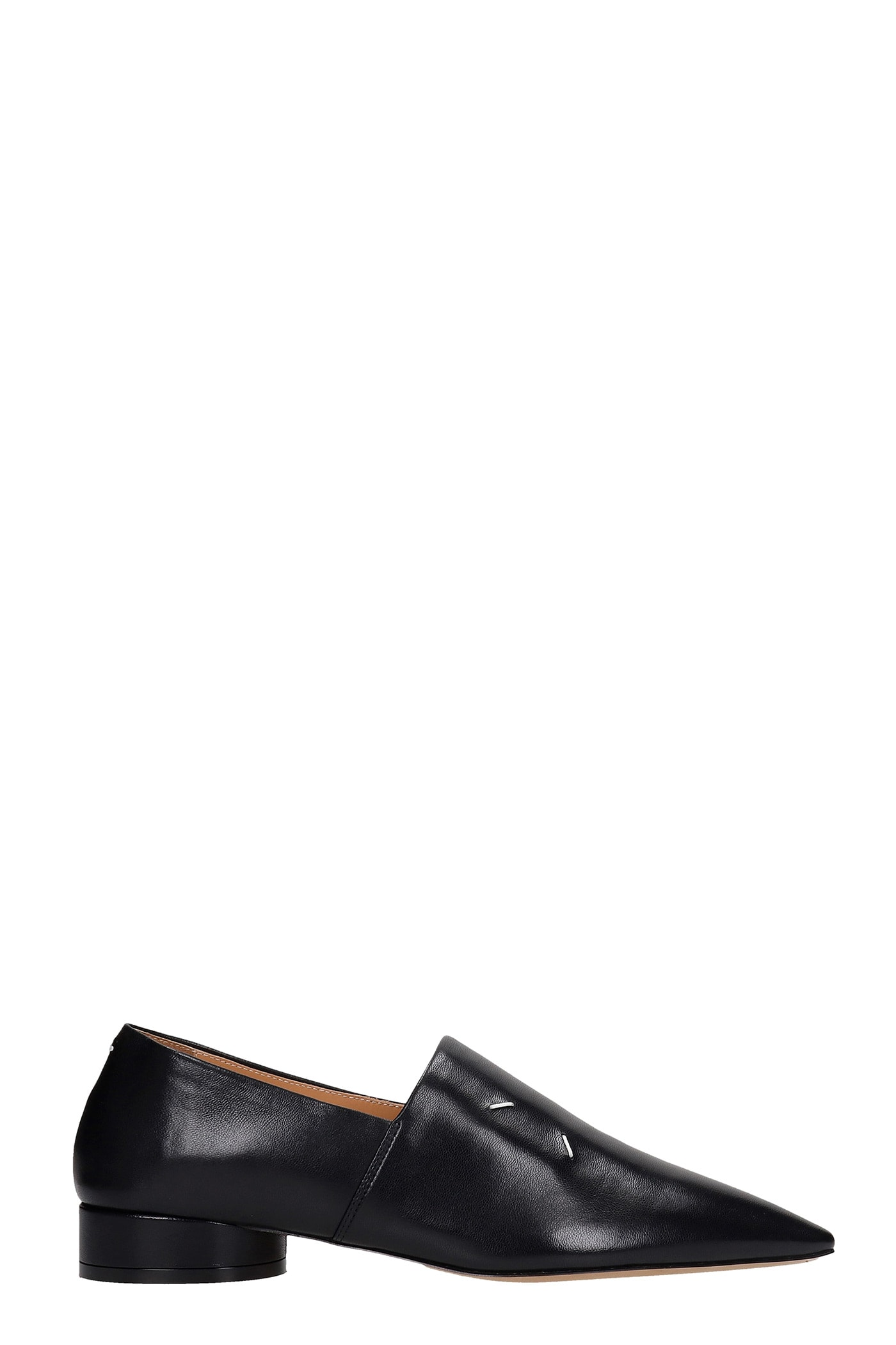 Buy Maison Margiela Loafers In Black Leather online, shop Maison Margiela shoes with free shipping