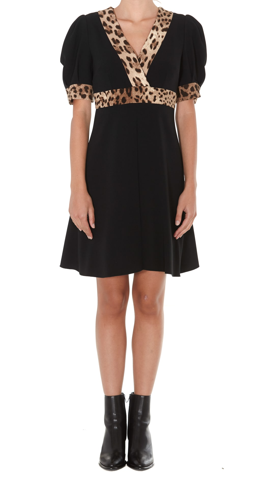 Dolce & Gabbana Short Cady Dress With Leopard Print Details