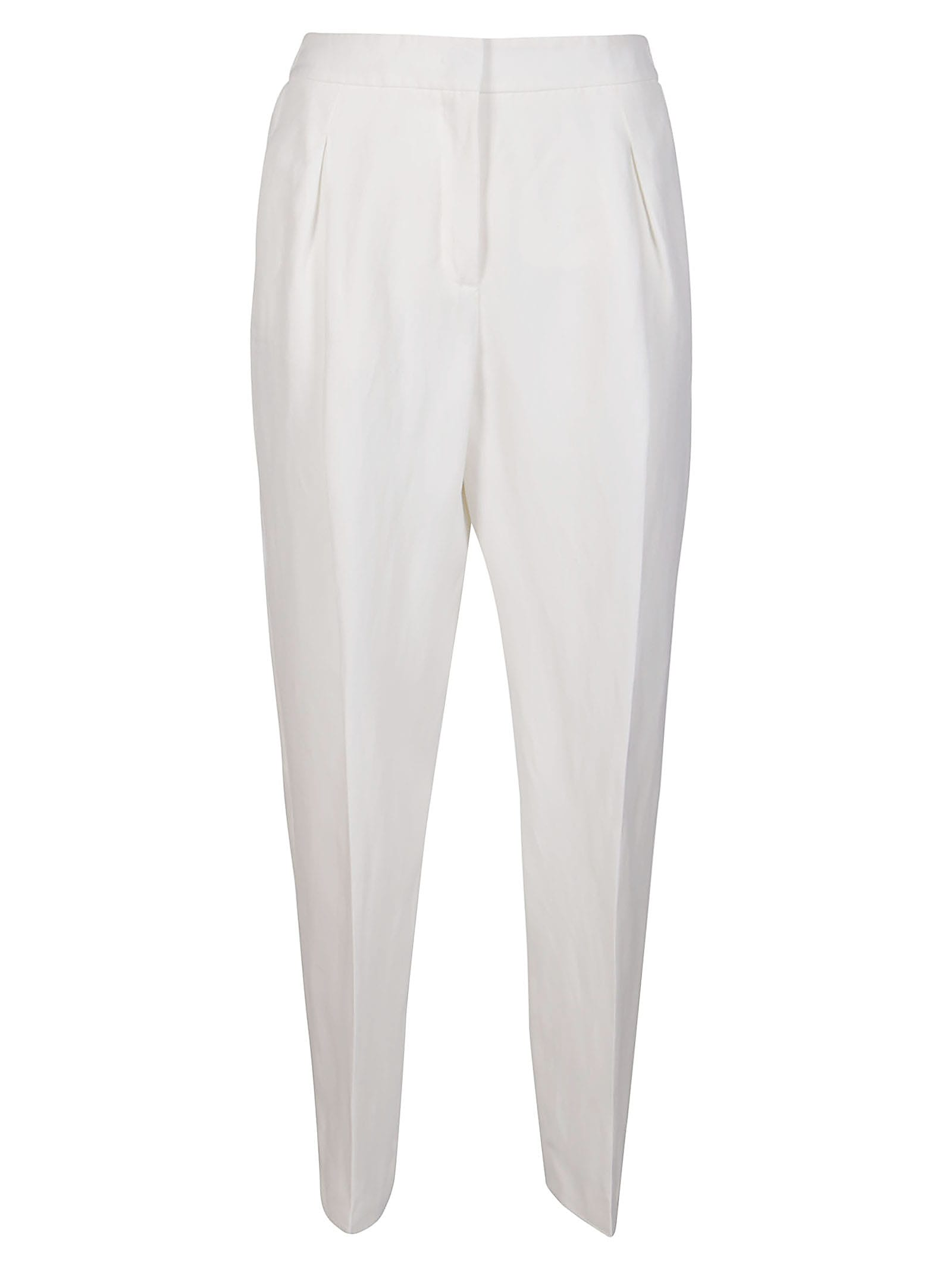 White Viscose-linen Blend Trousers