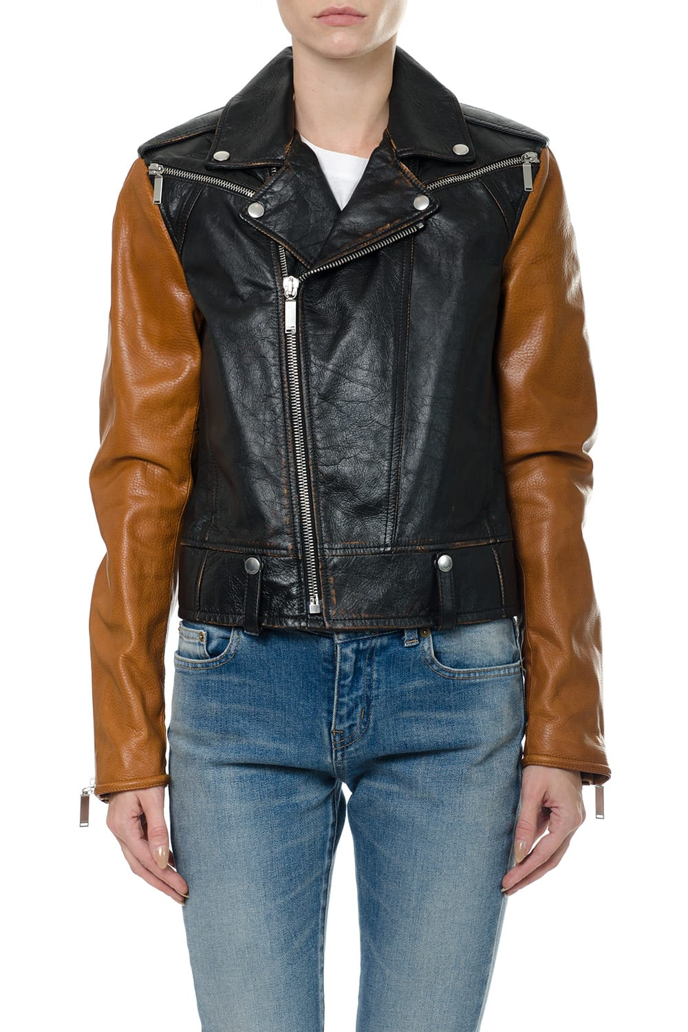 Saint Laurent Motorcycle Jacket With Sleeves In Contrasting Colour