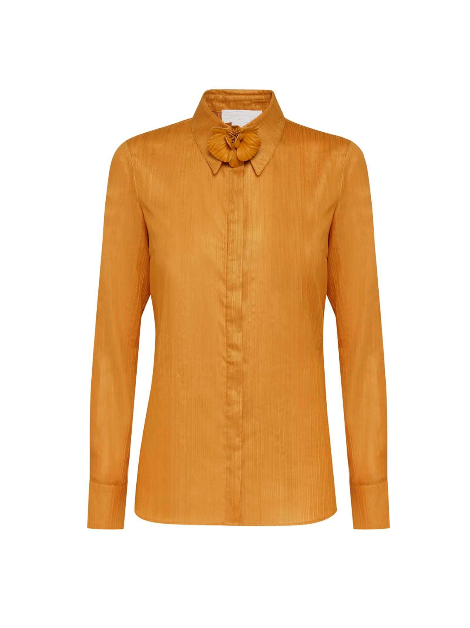 Ocher Orchid-embellished Shirt