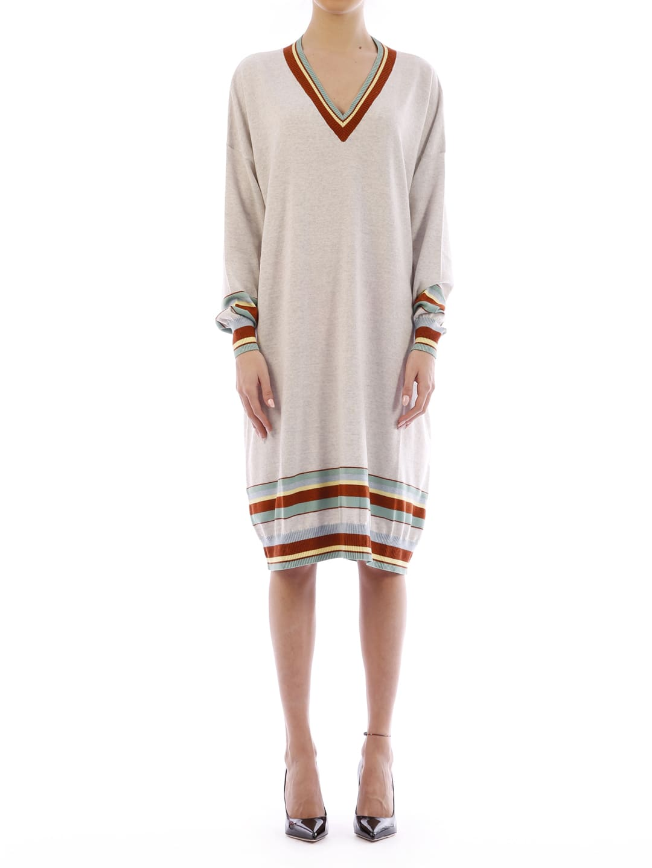 Buy Loewe Stripe V Neck Sweater Dress online, shop Loewe with free shipping