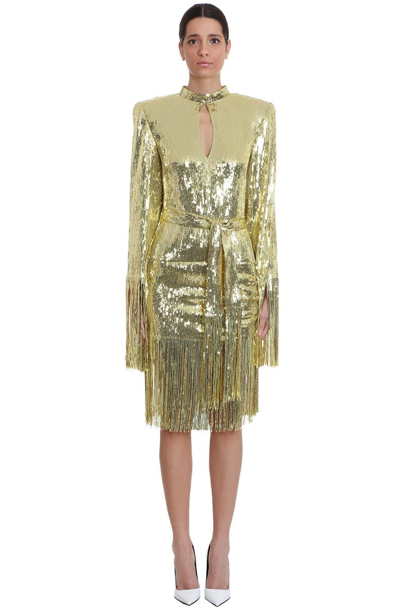 Buy Balmain Dress In Gold Tech/synthetic online, shop Balmain with free shipping