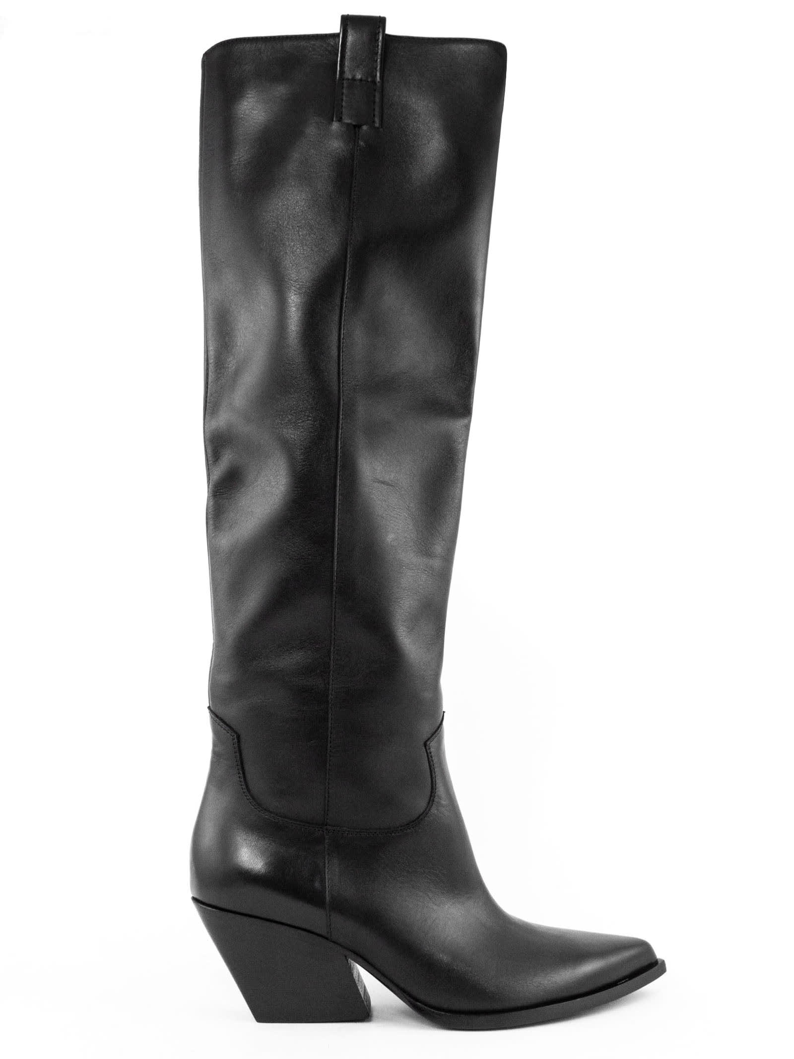 High Boot In Black Leather
