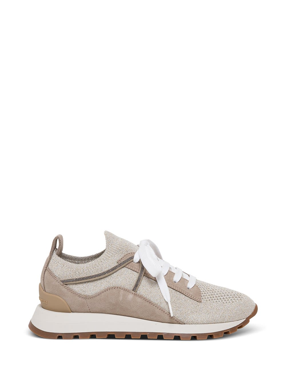 Brunello Cucinelli Sneakers LACE-UP SNEAKERS WITH PANELS AND MONILE DETAIL