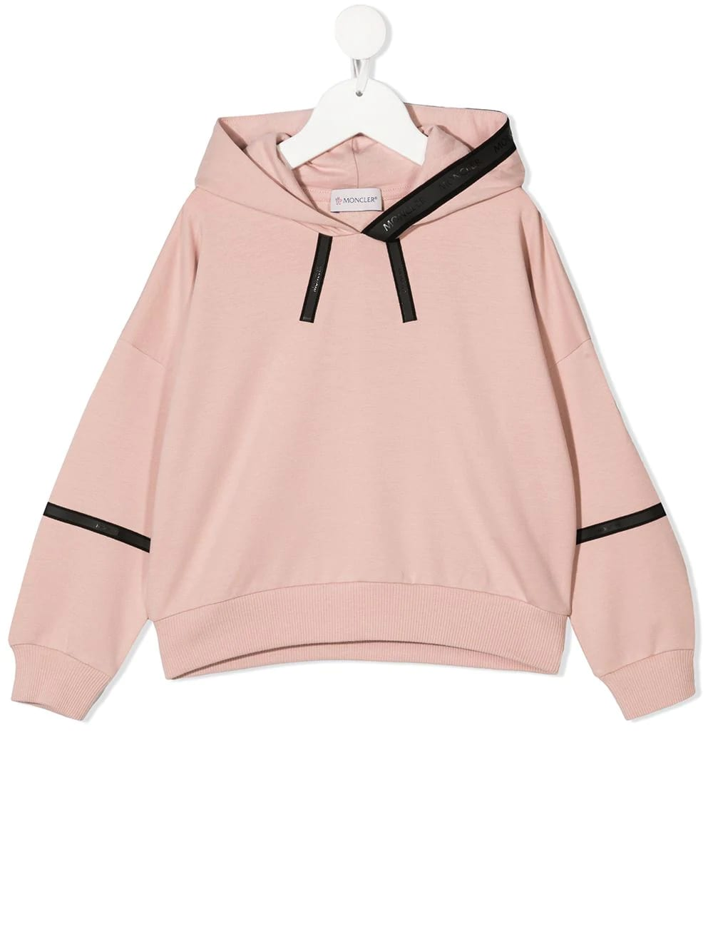 Moncler LIGHT PINK KID HOODIE WITH HEAT-SEALED DETAILS