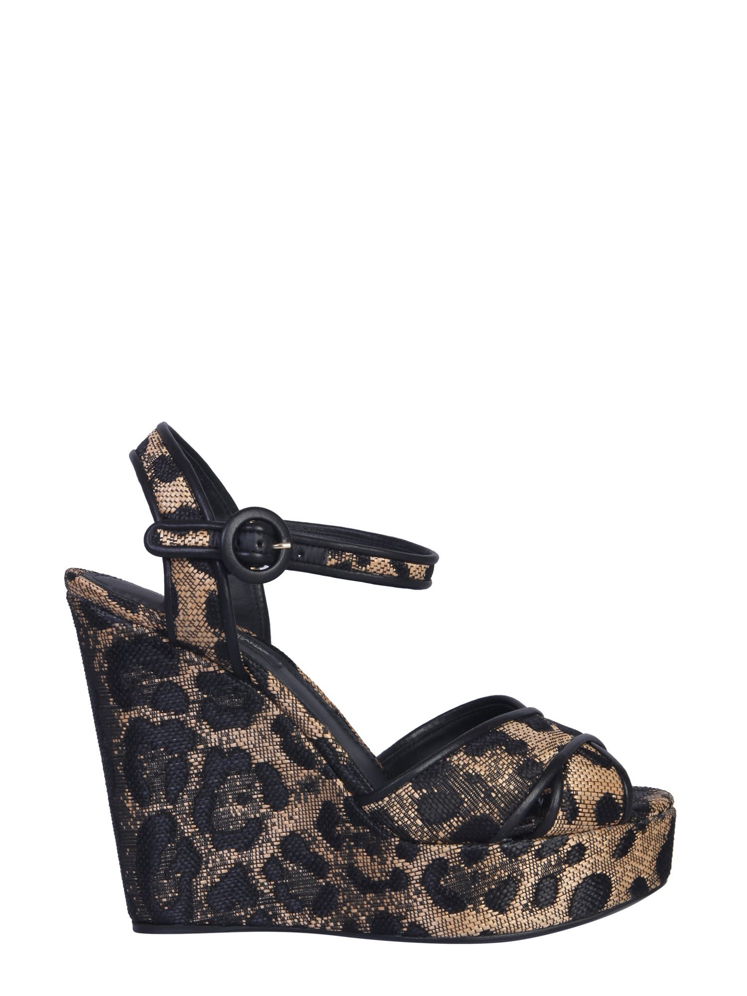 Dolce & Gabbana Animal Print Wedge Sandal