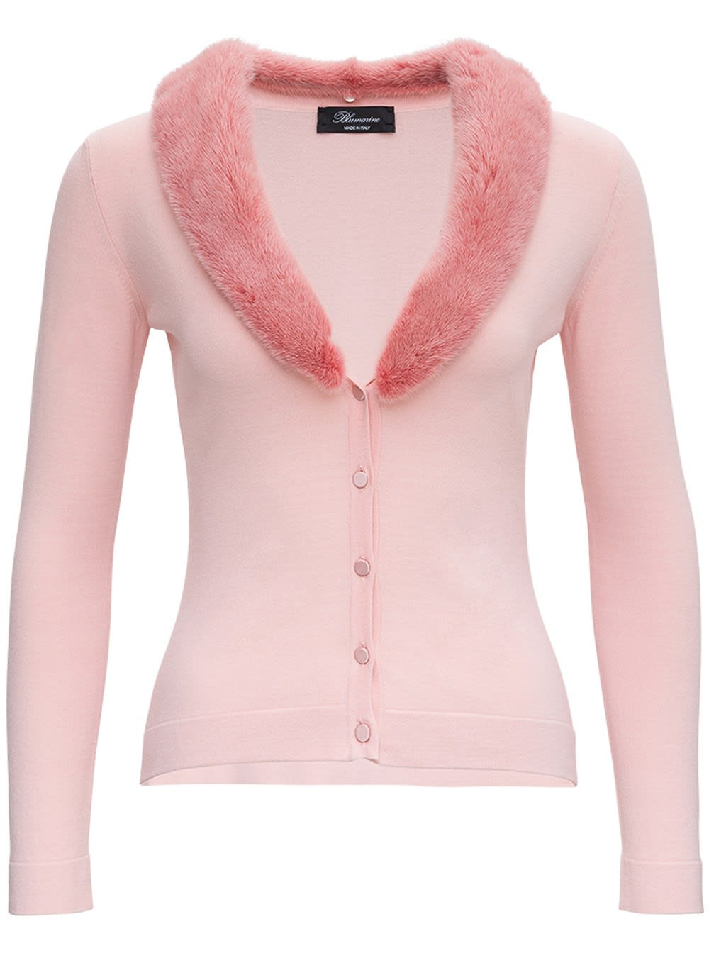 Blumarine PINK CARDIGAN WITH FUR COLLAR