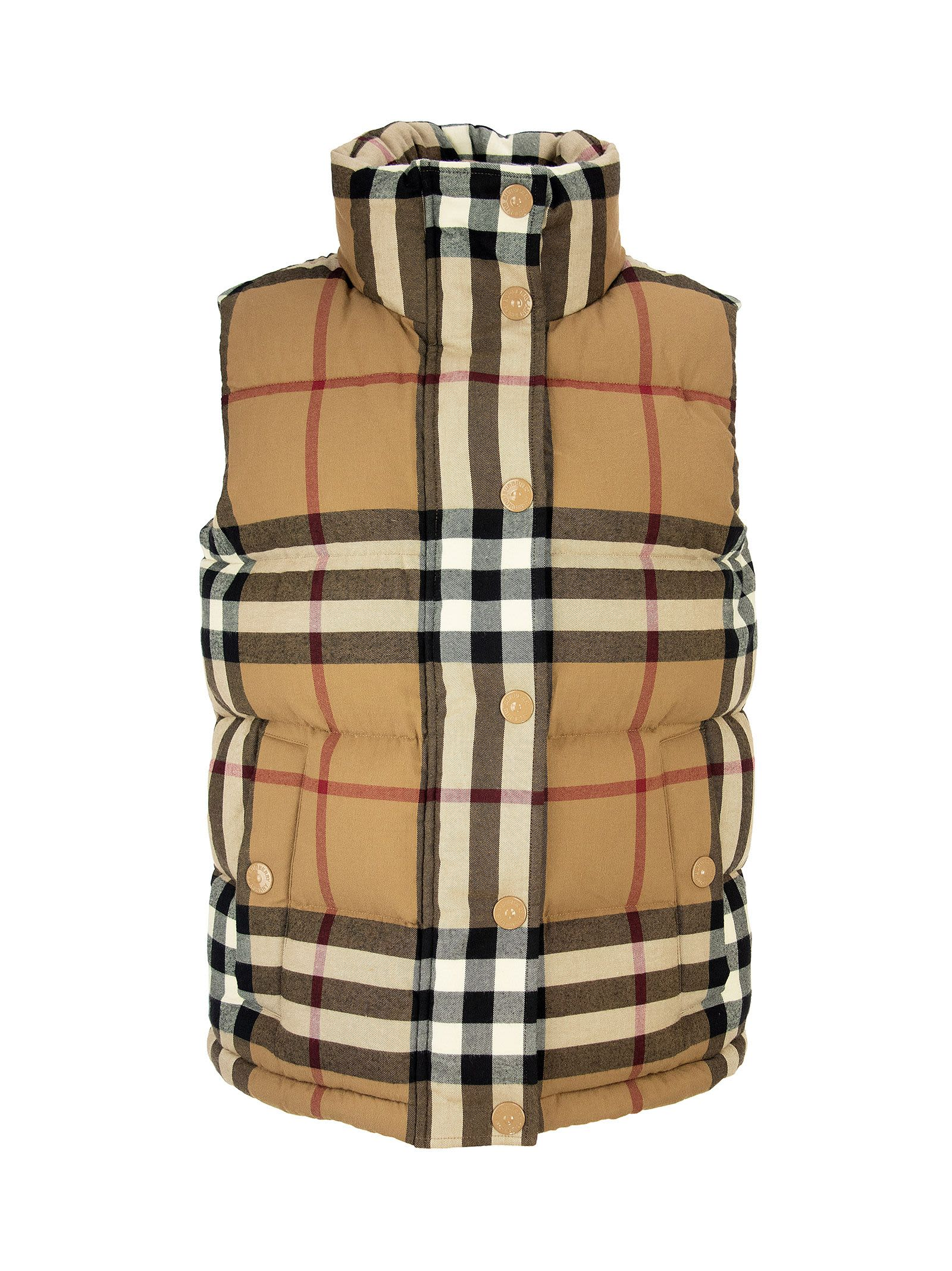 Burberry Downs CHECK COTTON FLANNEL PUFFER GILET THEFORD BIRCH BROWN