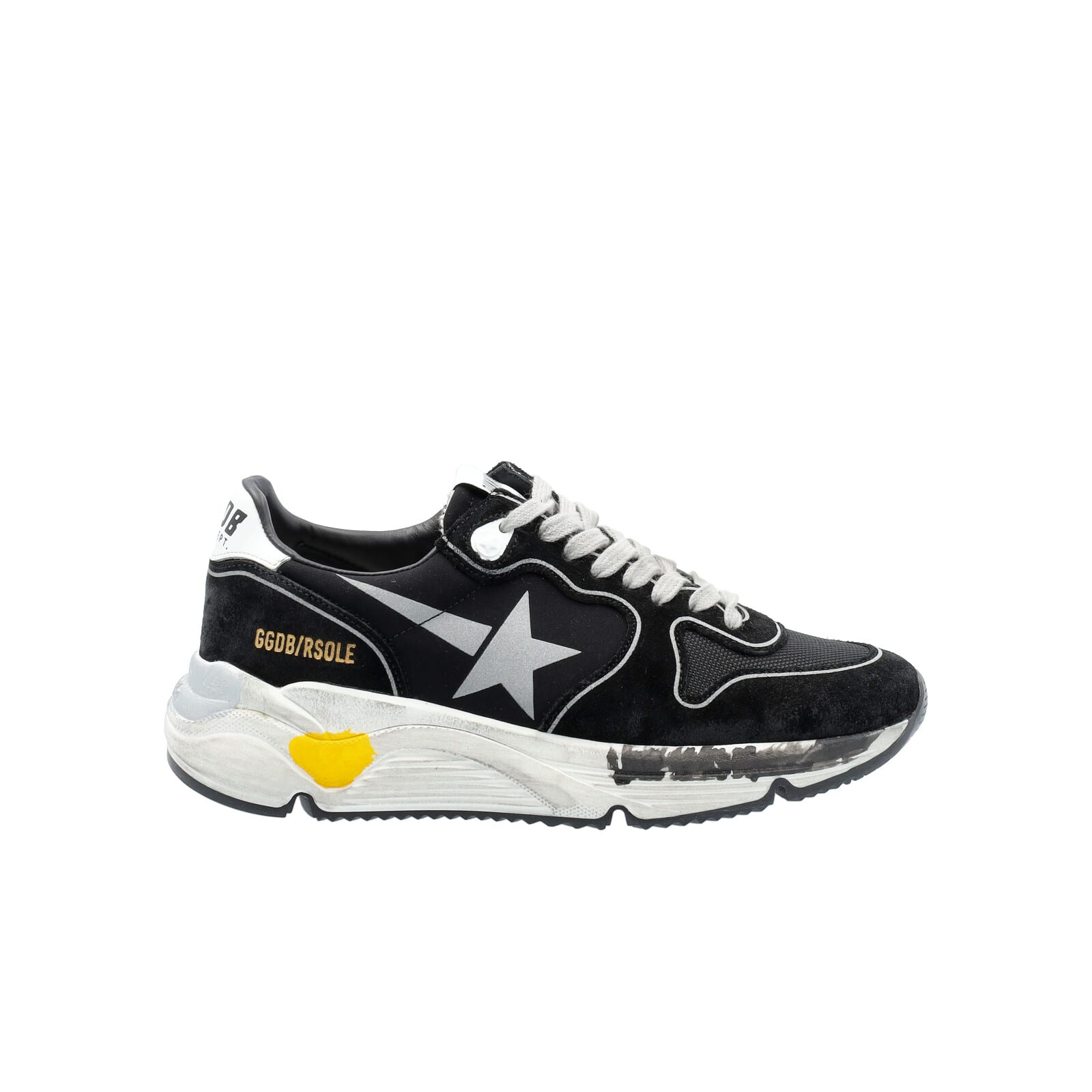 Golden Goose Black Running Sole Sneakers With Silver Star