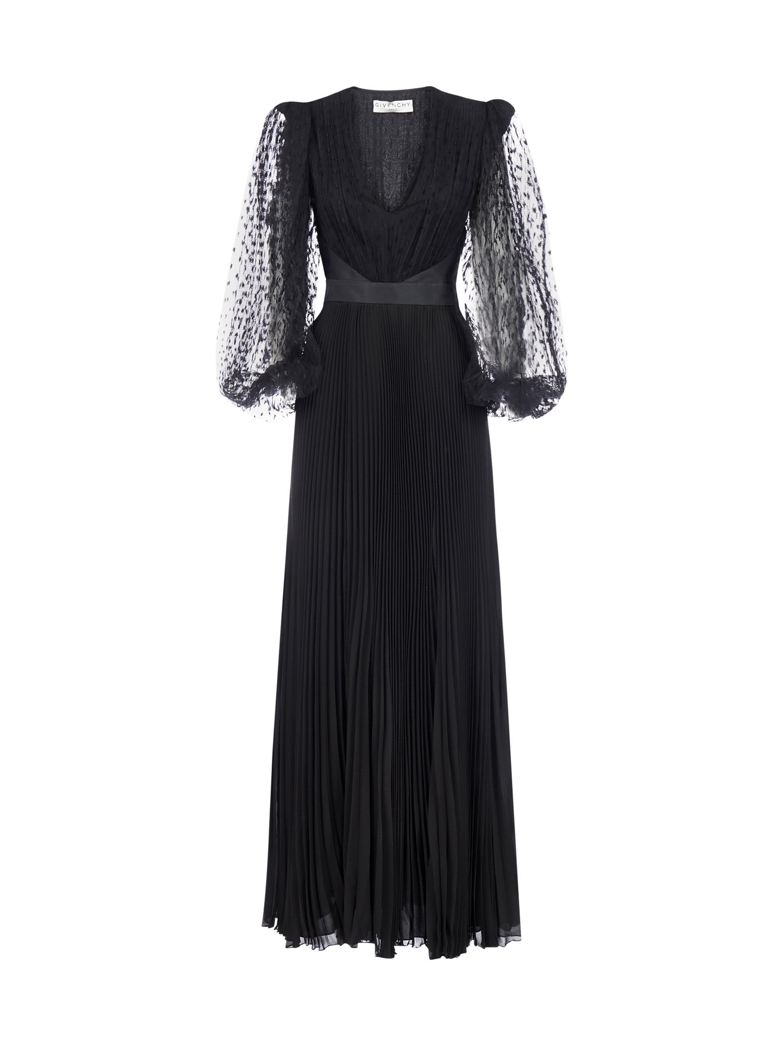 Givenchy Pleated Silk And Lace Evening Dress