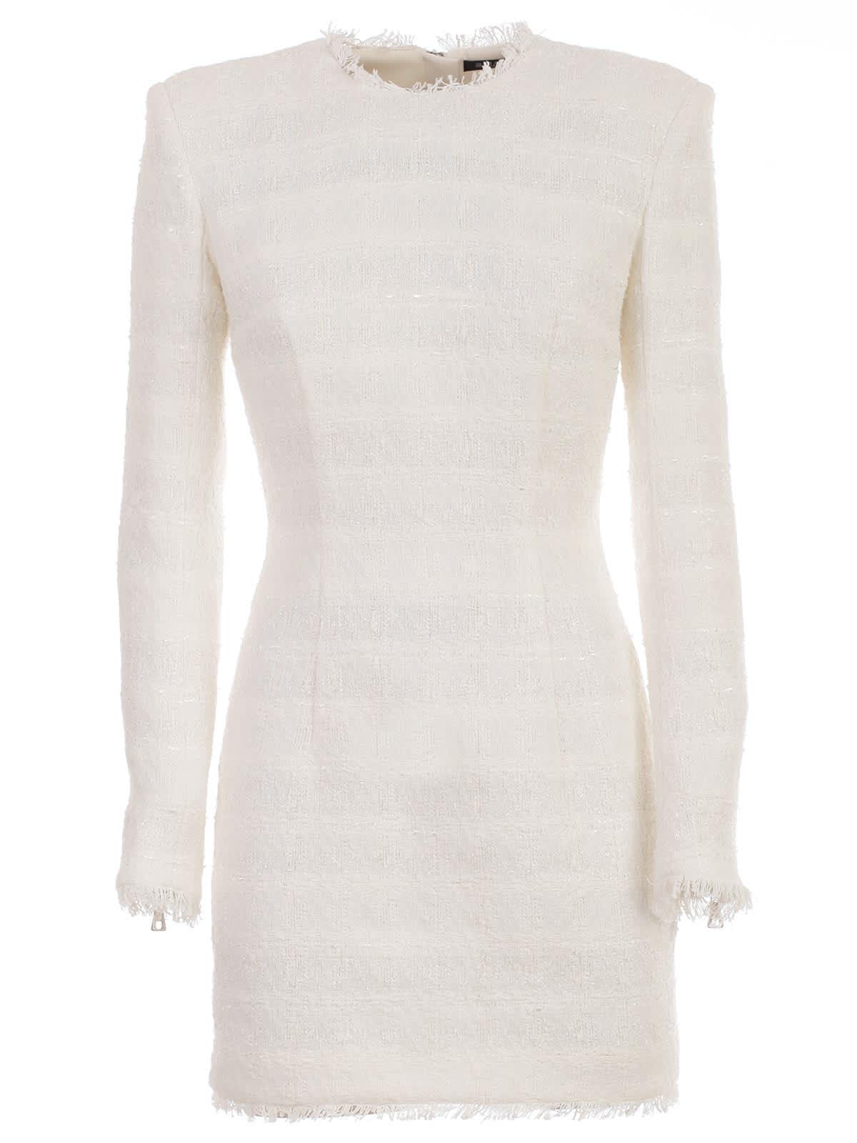 Balmain Dress L & s Short Tweed