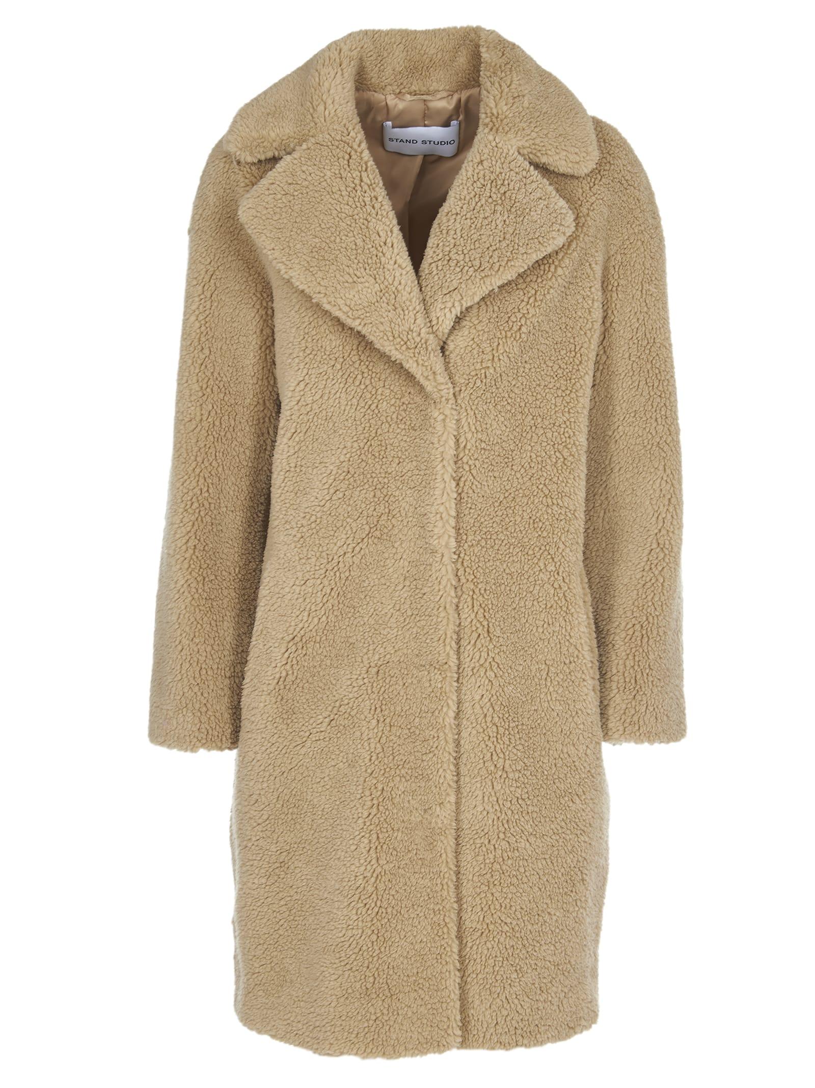 STAND STUDIO camille Beige Faux Fur Coat