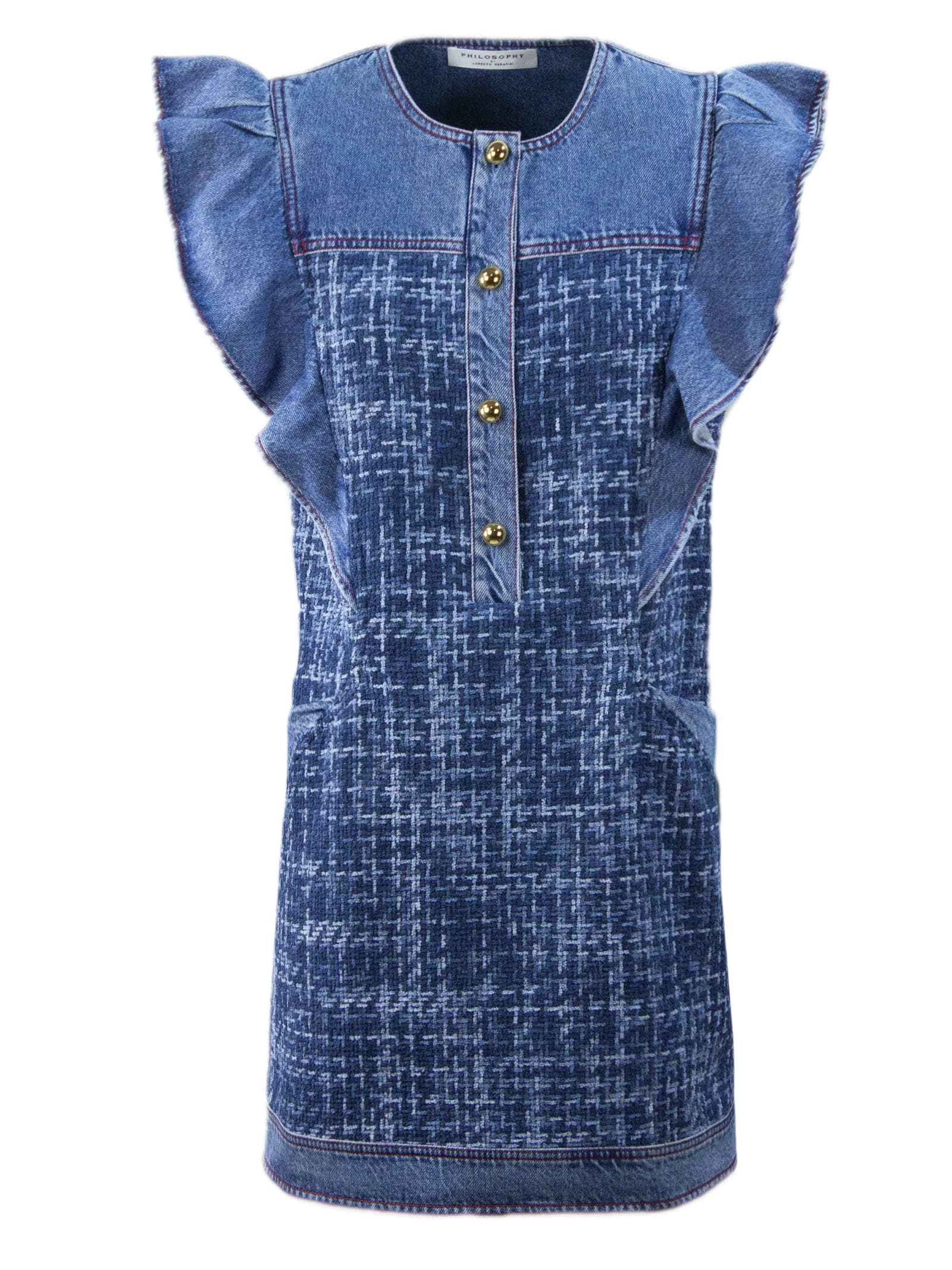 Buy Philosophy di Lorenzo Serafini Dark Blue Denim Dress online, shop Philosophy di Lorenzo Serafini with free shipping
