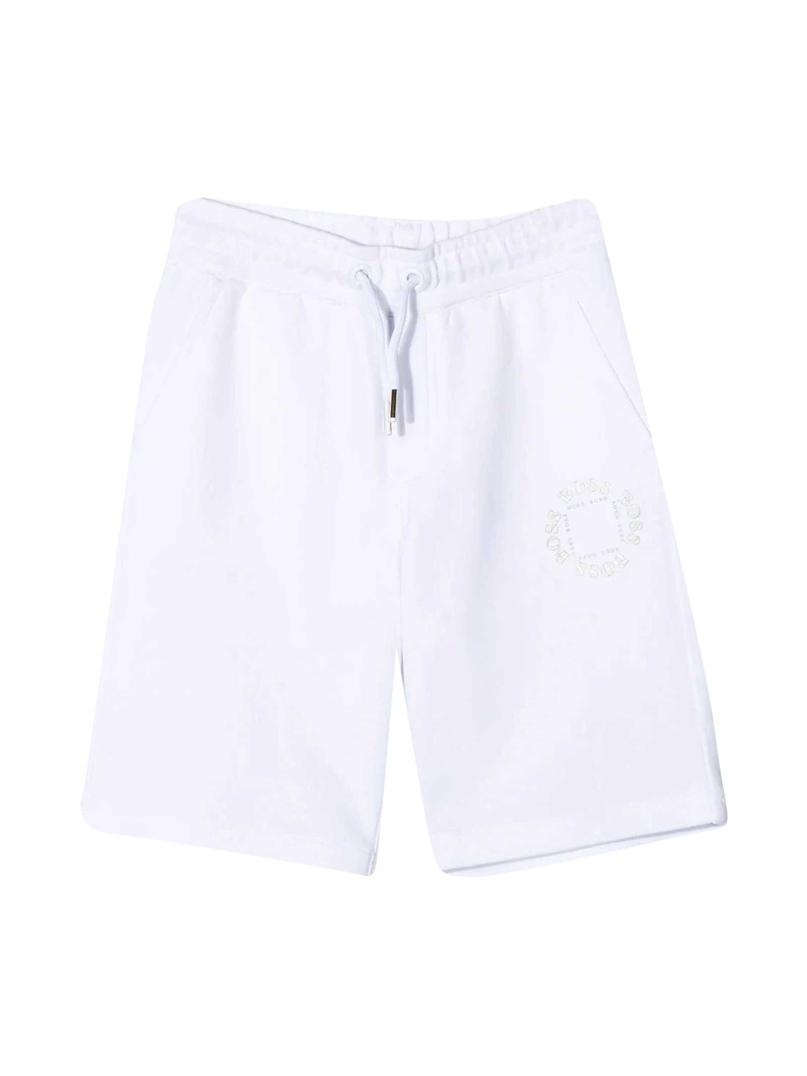 Hugo Boss WHITE BERMUDA SHORTS WITH COULISSE
