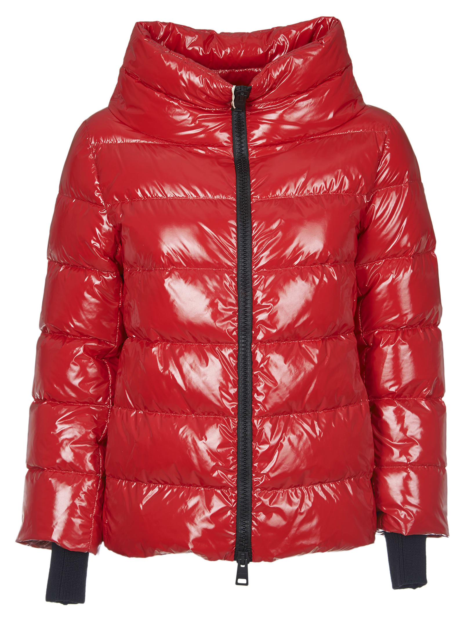 Herno Red Down Jacket In Coated Fabric