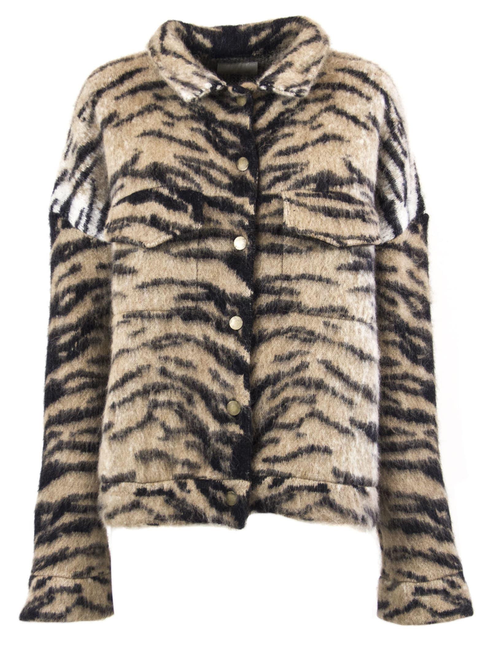 Laneus Beige And Black Tiger Pattern Jacket