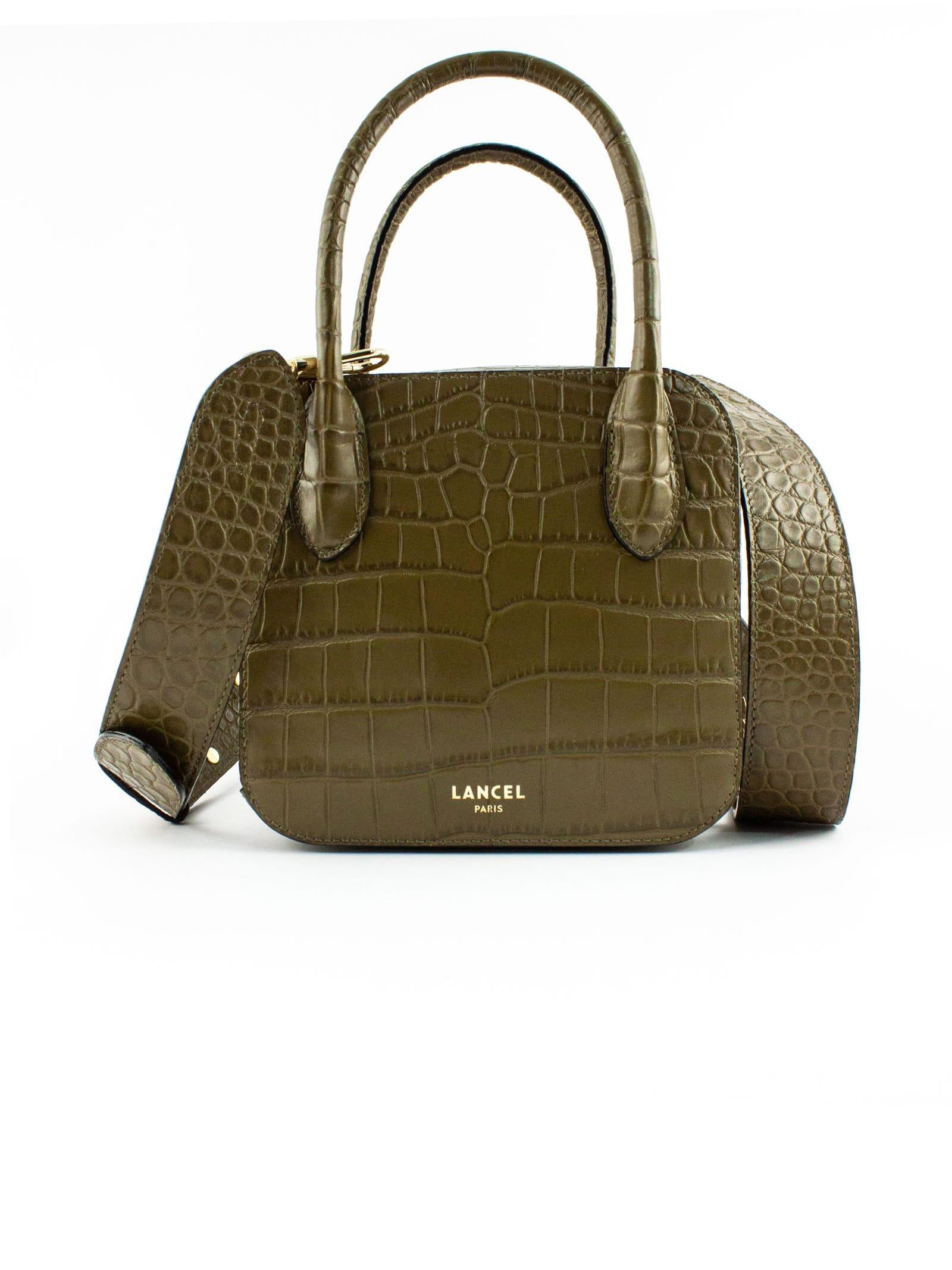 Shiny Crocodile-style Khaki Leather Handbag