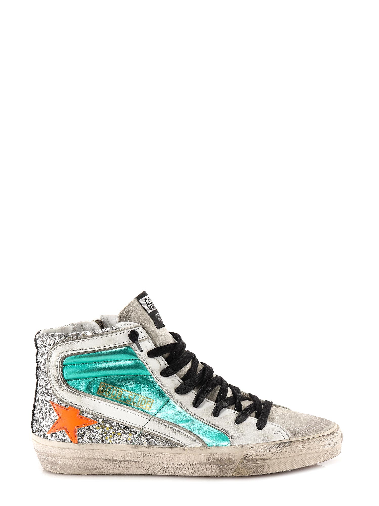Leather sneakers- Lace-up- Leather And Glitter Upper- Zip Closure- Logo Print- Leather- External: Leather- Sole: Rubber