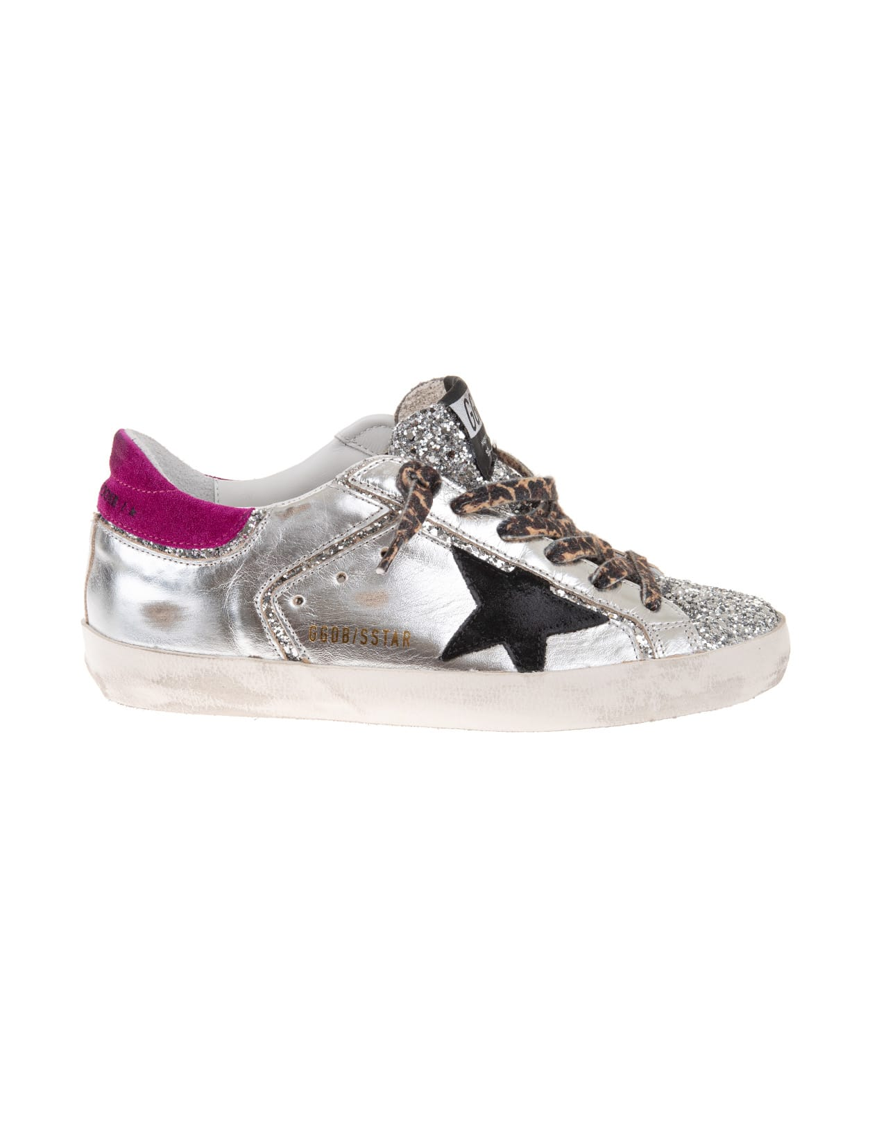Golden Goose Woman Silver Super-star Sneakers With Glitter And Leopard Laces