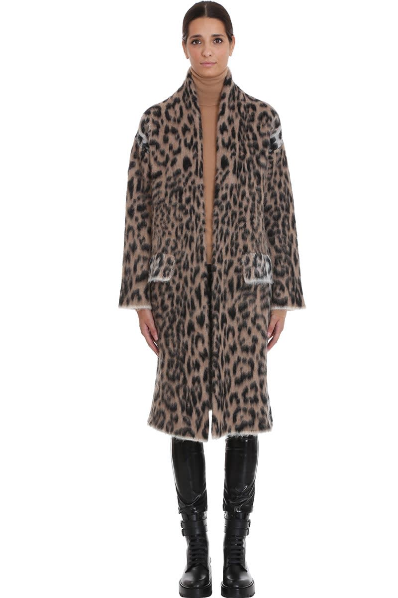 Laneus Coat In Animalier Wool